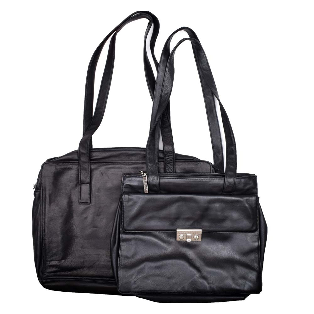Perlina Black Leather Laptop Bag and Handbag