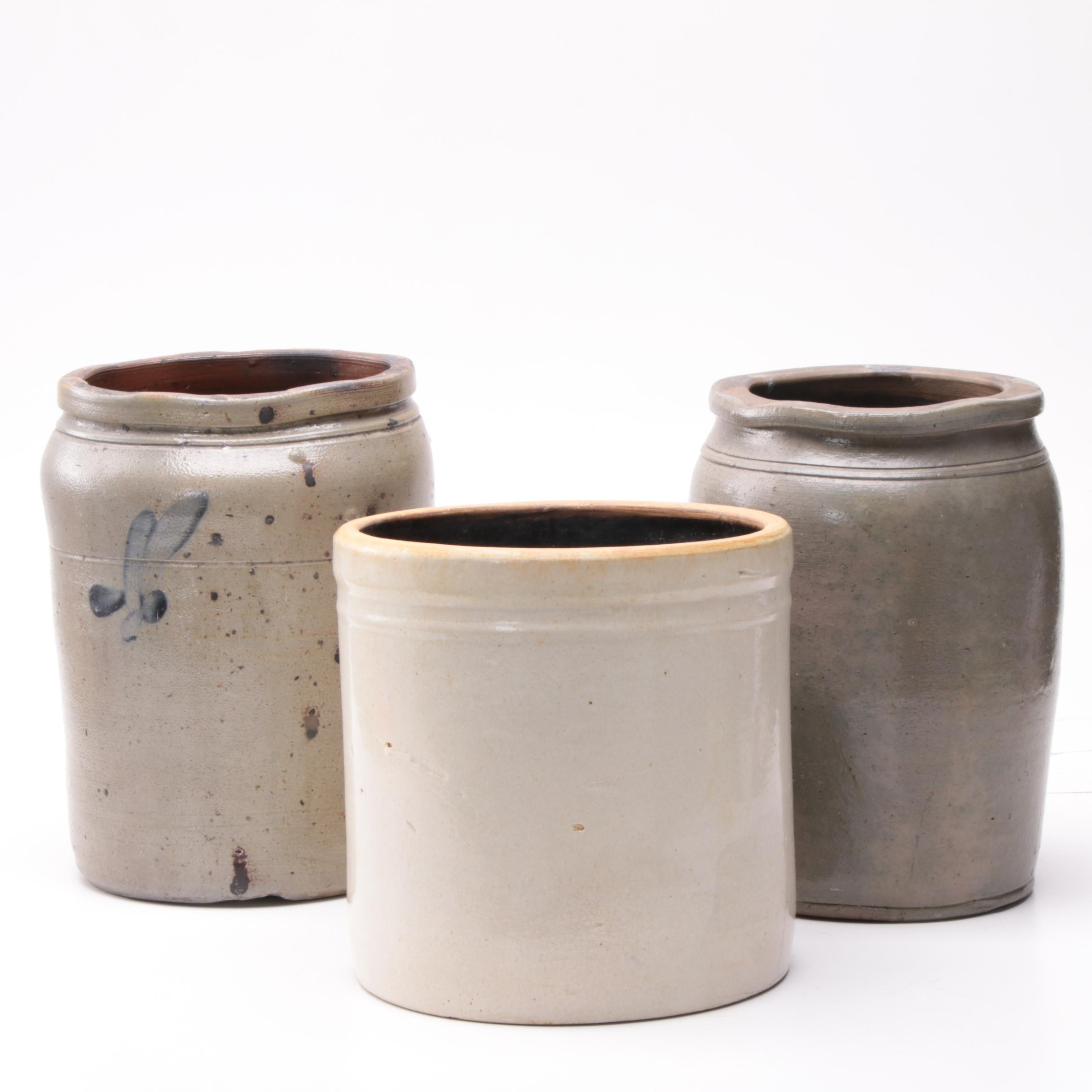 Vintage Salt and Slip Glazed Stoneware Crocks