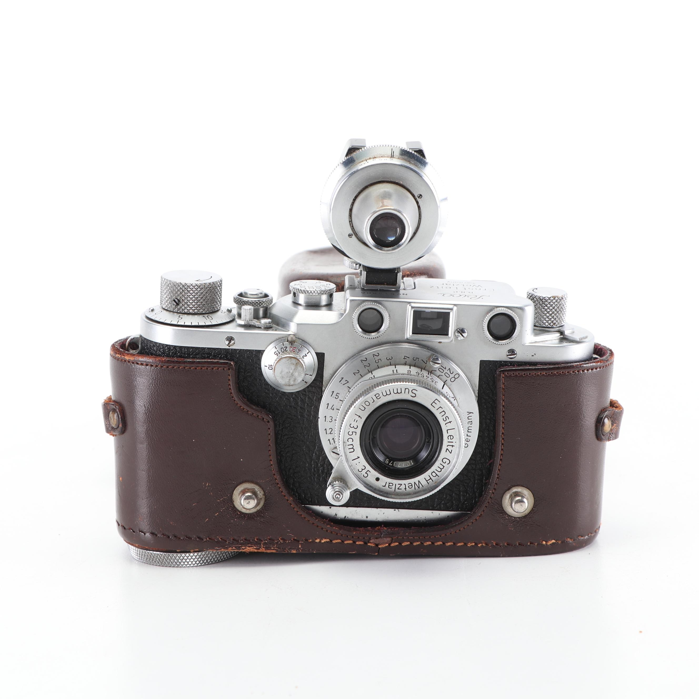 Leica IIIC 35mm Camera with Viewfinder Attachment and Leather Case, c. 1950