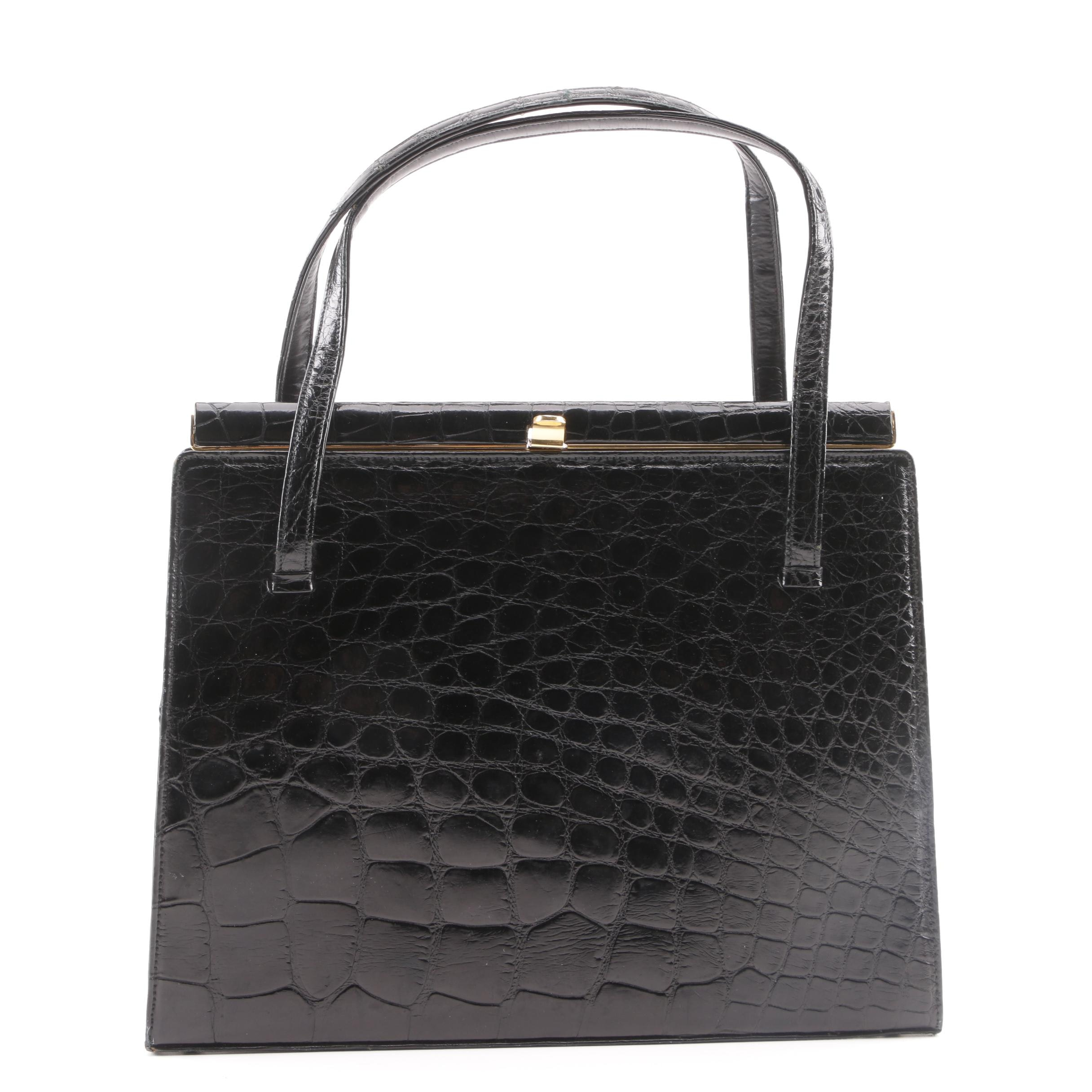 1950s Vintage I. Magnin Black Alligator Frame Bag
