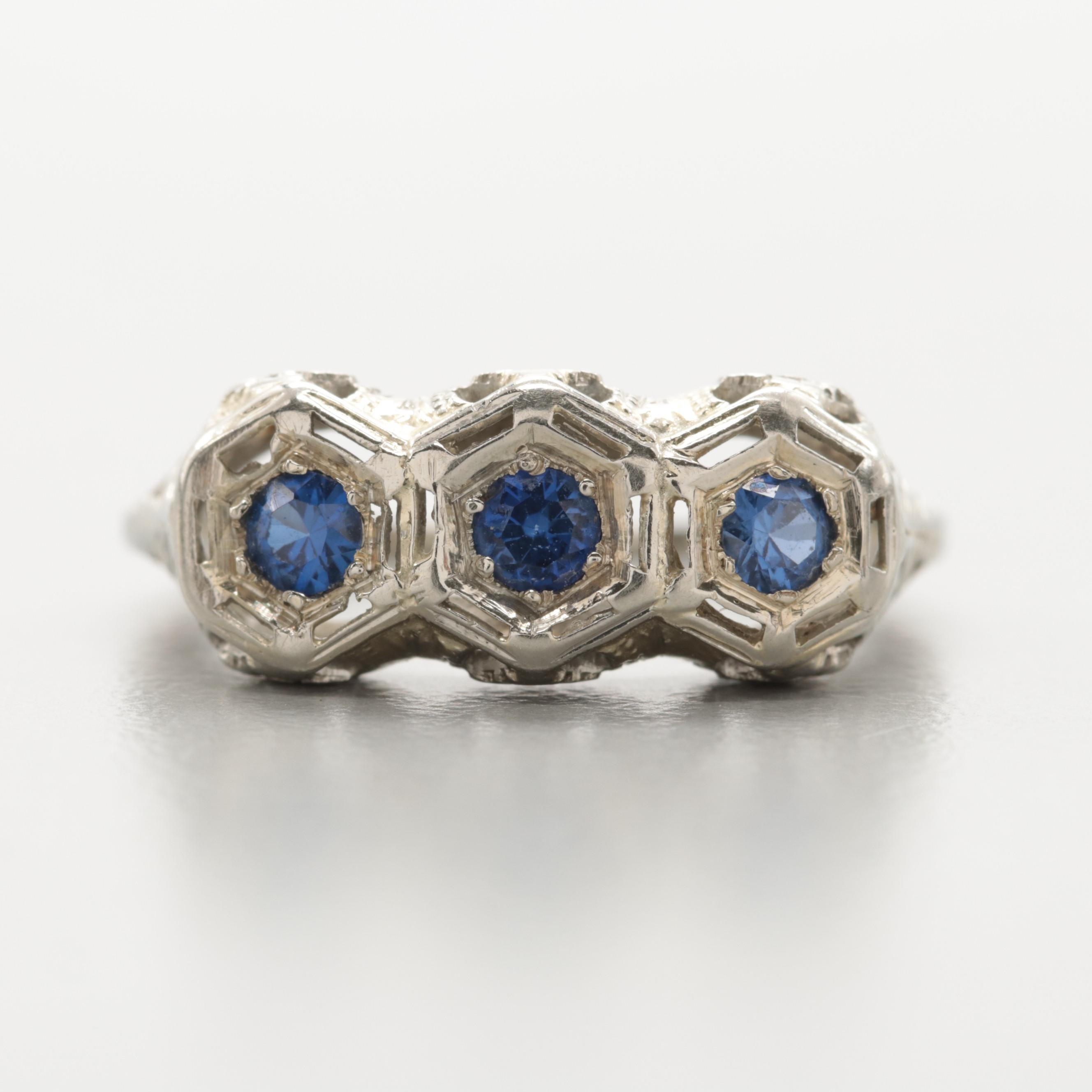 Late Edwardian 18K White Gold Synthetic Blue Sapphire Ring