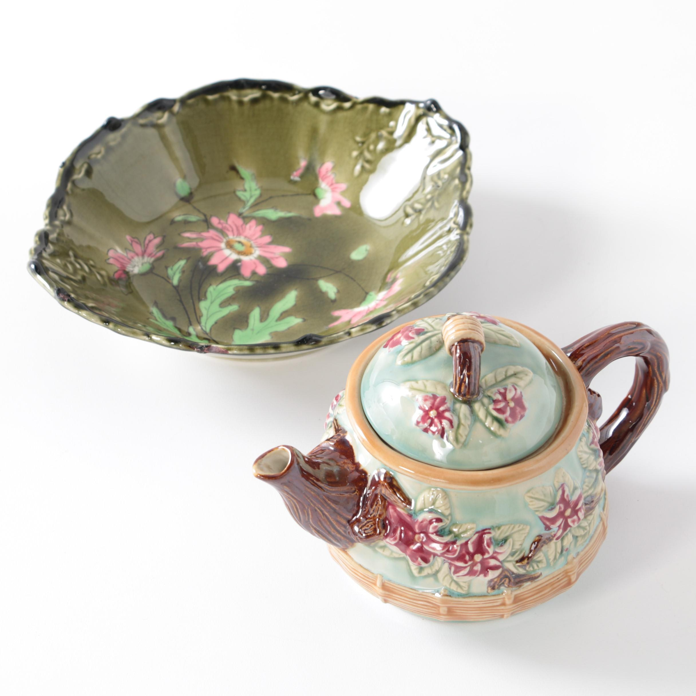 Majolica Tableware Including Teapot and Bowl