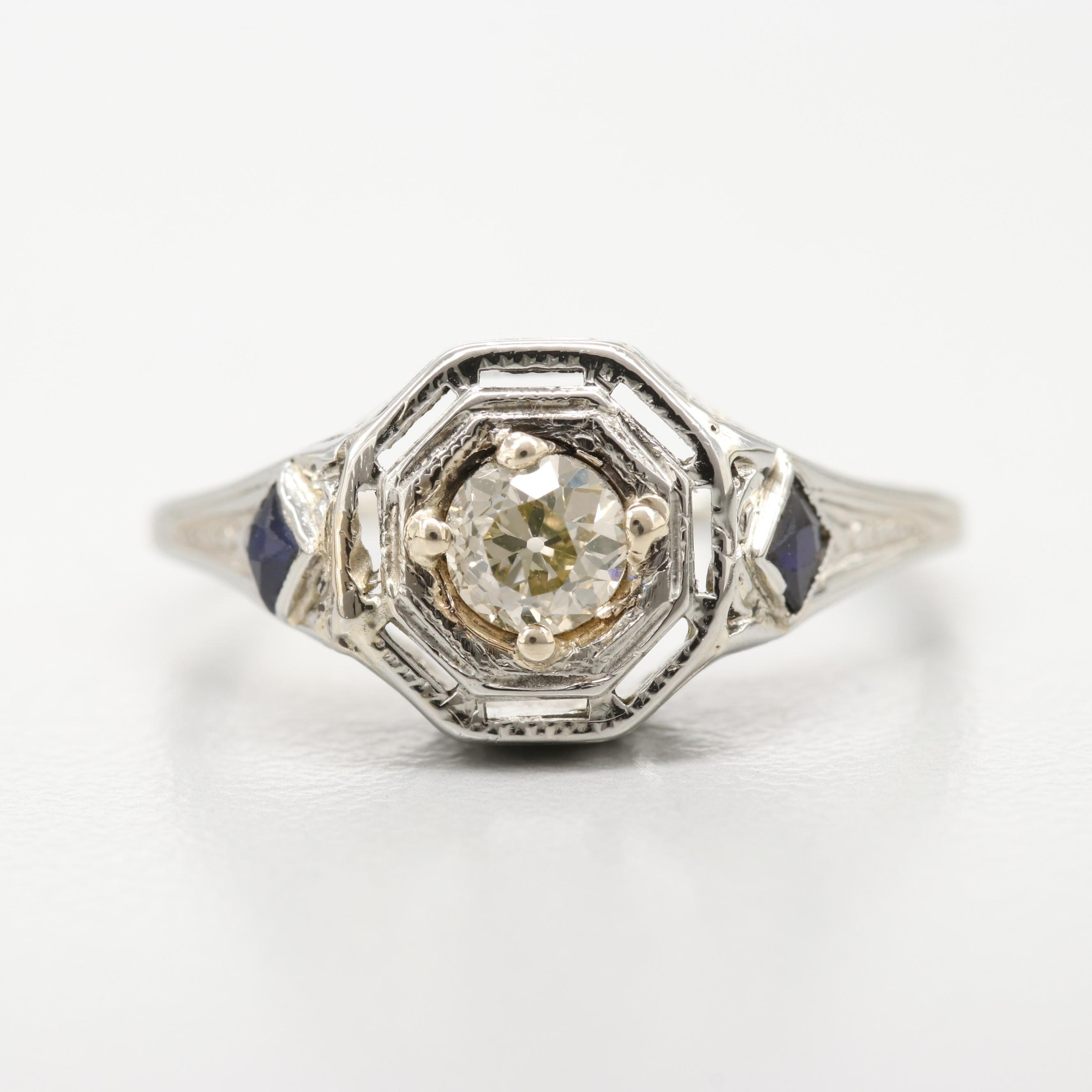 18K White Gold Art Deco Diamond and Synthetic Blue Sapphire Ring