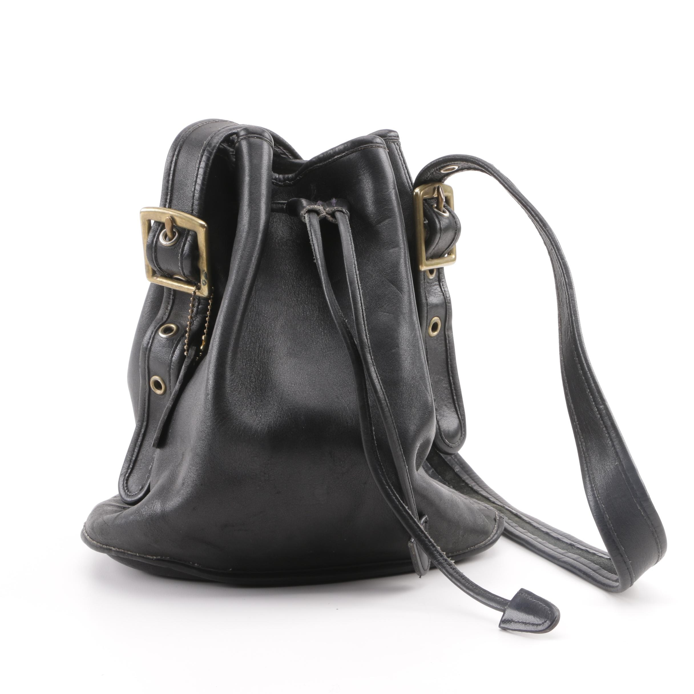 Circa 1990s Coach Black Leather Bucket Bag
