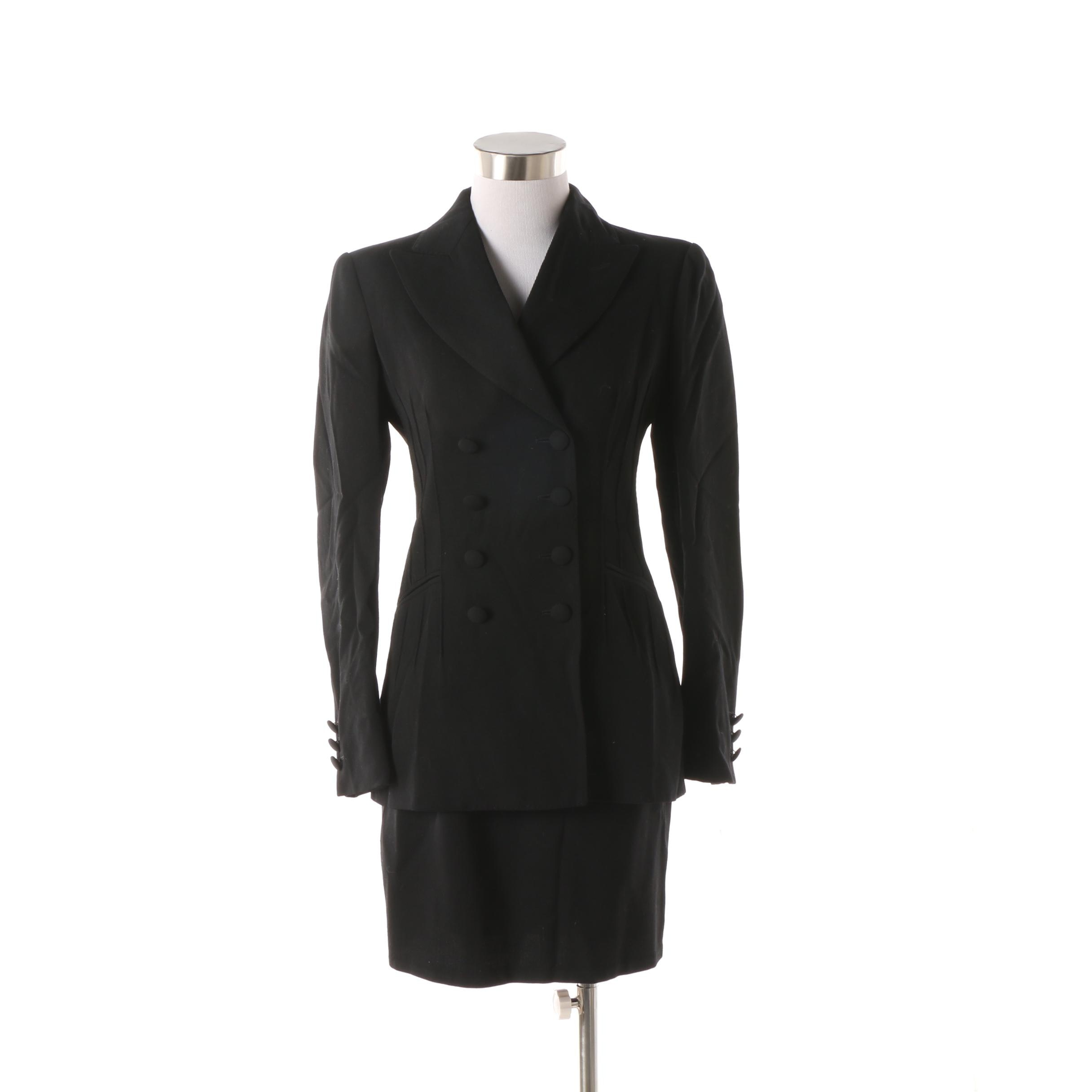 Women's 1980s Vintage Moschino Couture! Black Wool Skirt Suit