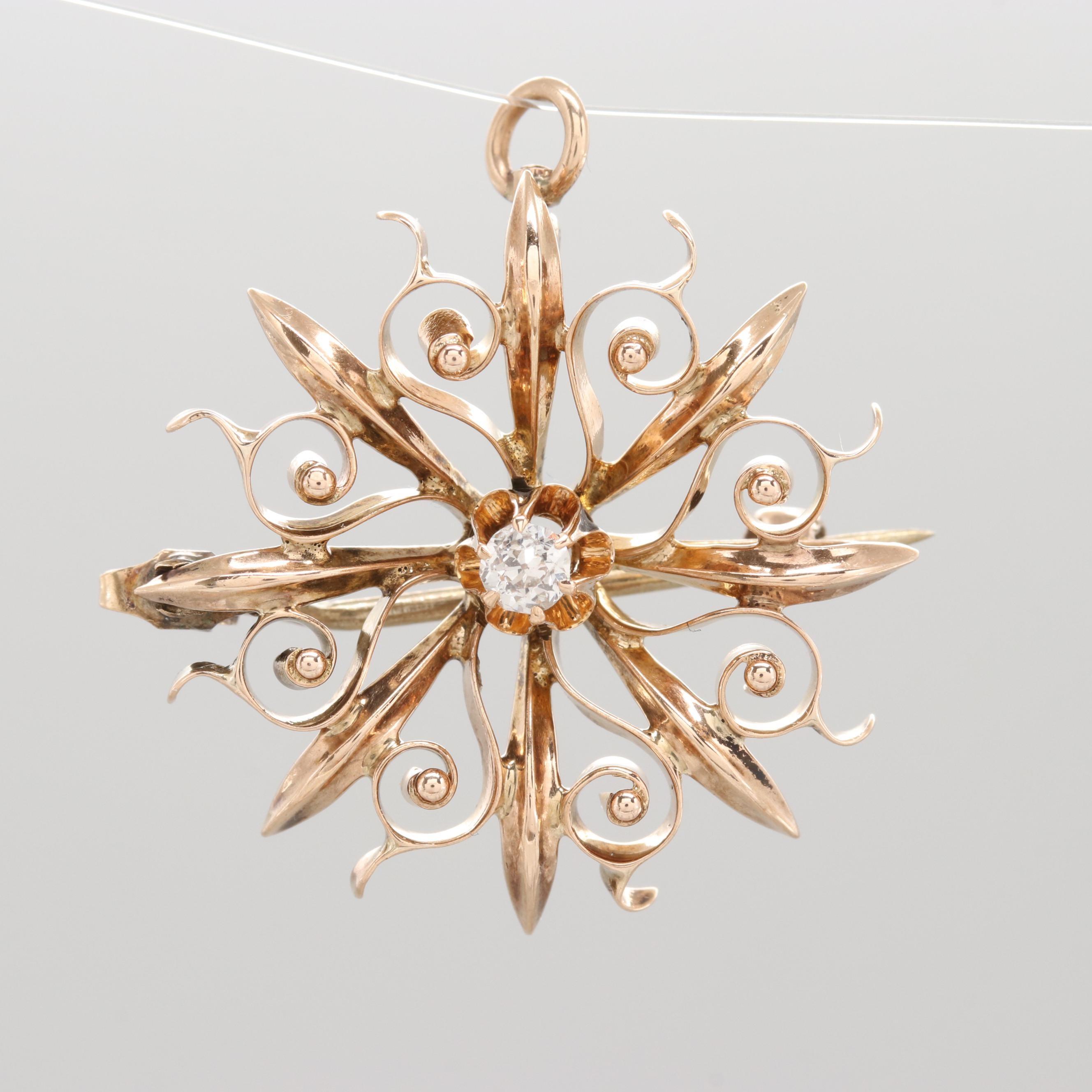 Victorian 10K Rose Gold Diamond Converter Pinwheel Brooch