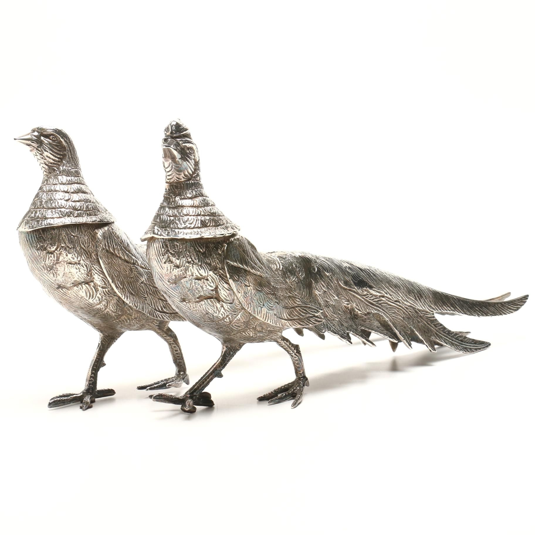 Plumed French Pheasant Table Garniture Figurines