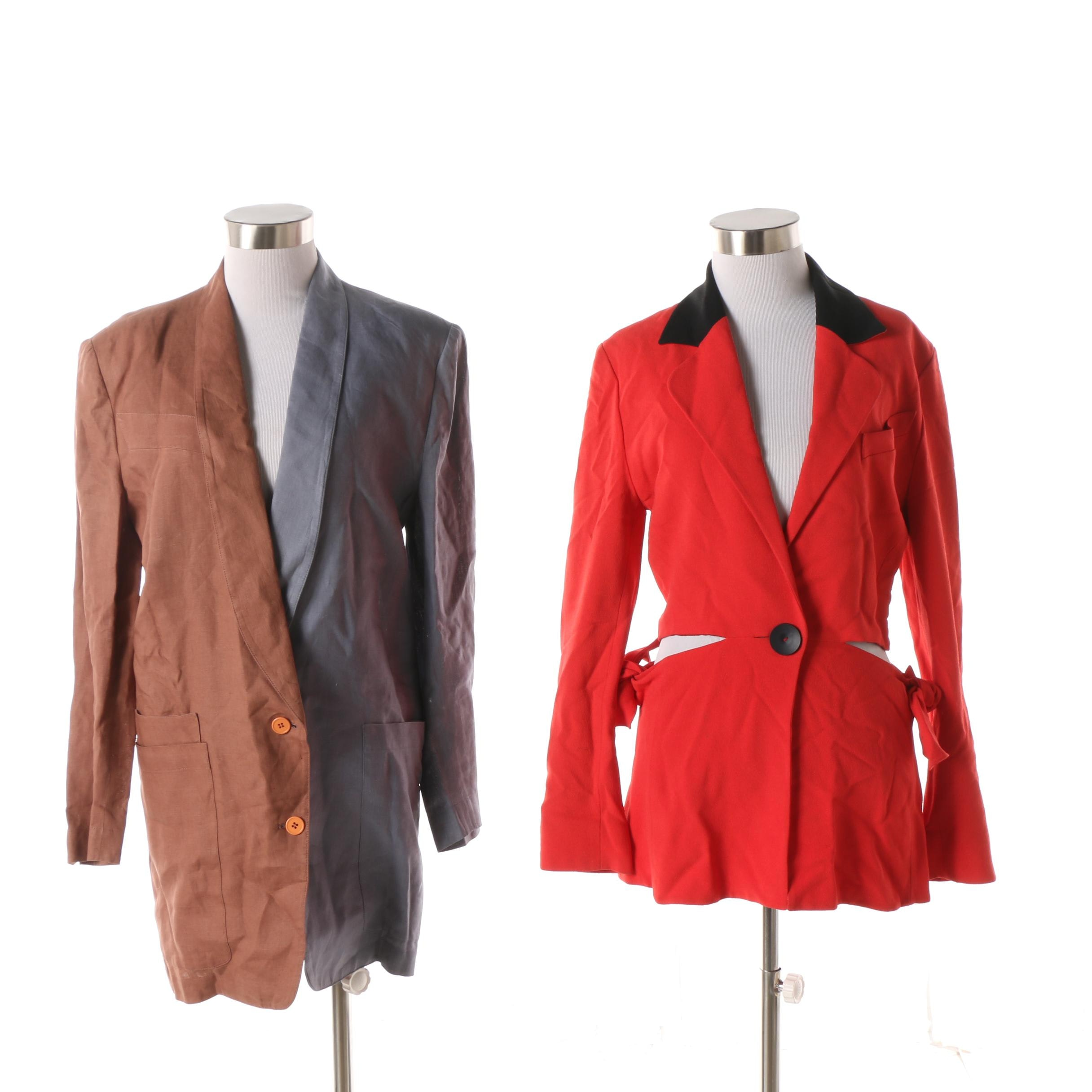 Women's 1980s Vintage Karl Lagerfeld and Claude Montana Suit Jackets