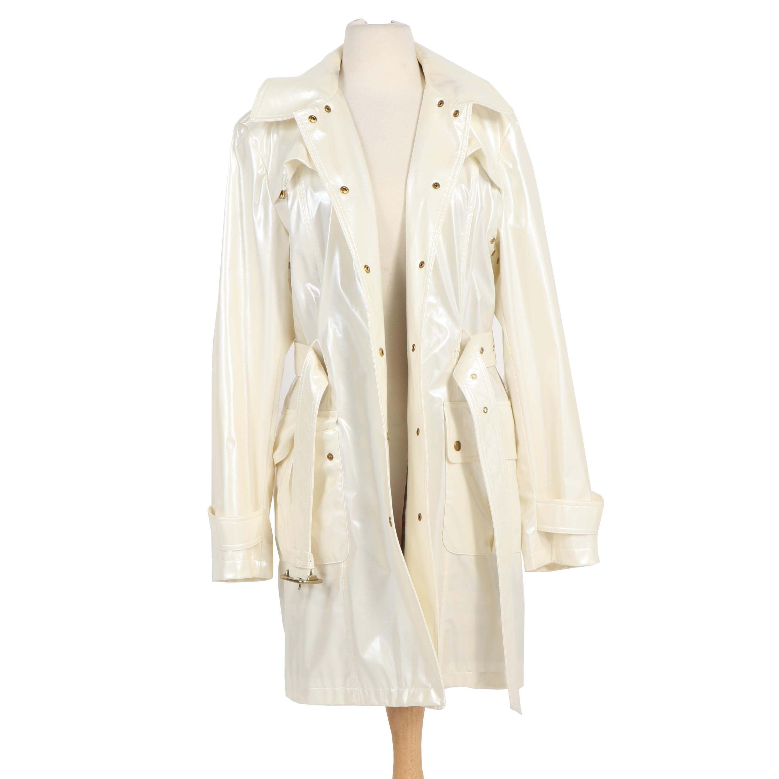 "Women's Burberry London ""Backworth"" Opalescent White Polyurethane Trench Coat"