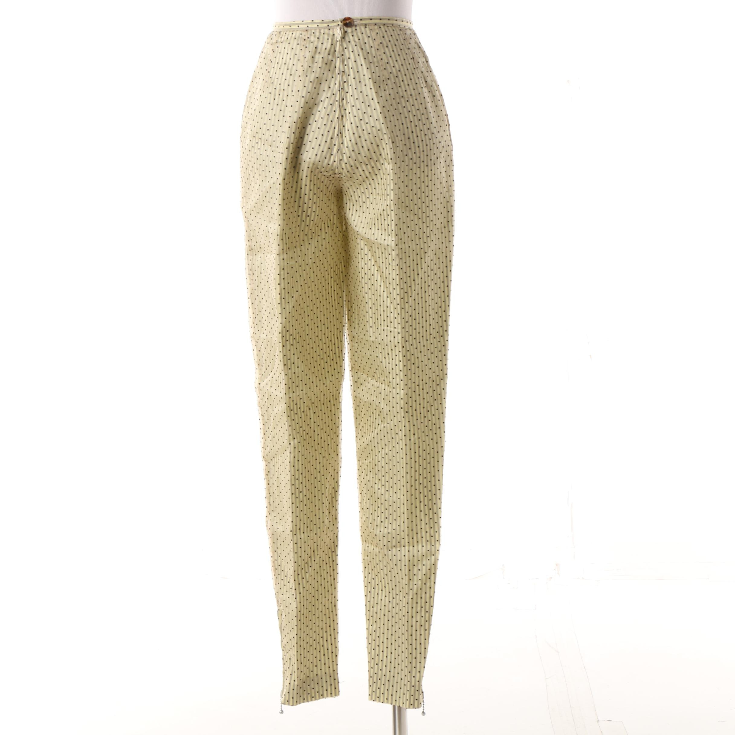 Women's Mid-1980s Vintage Jean Paul Gaultier Pour Gibo Silk Pencil Trousers