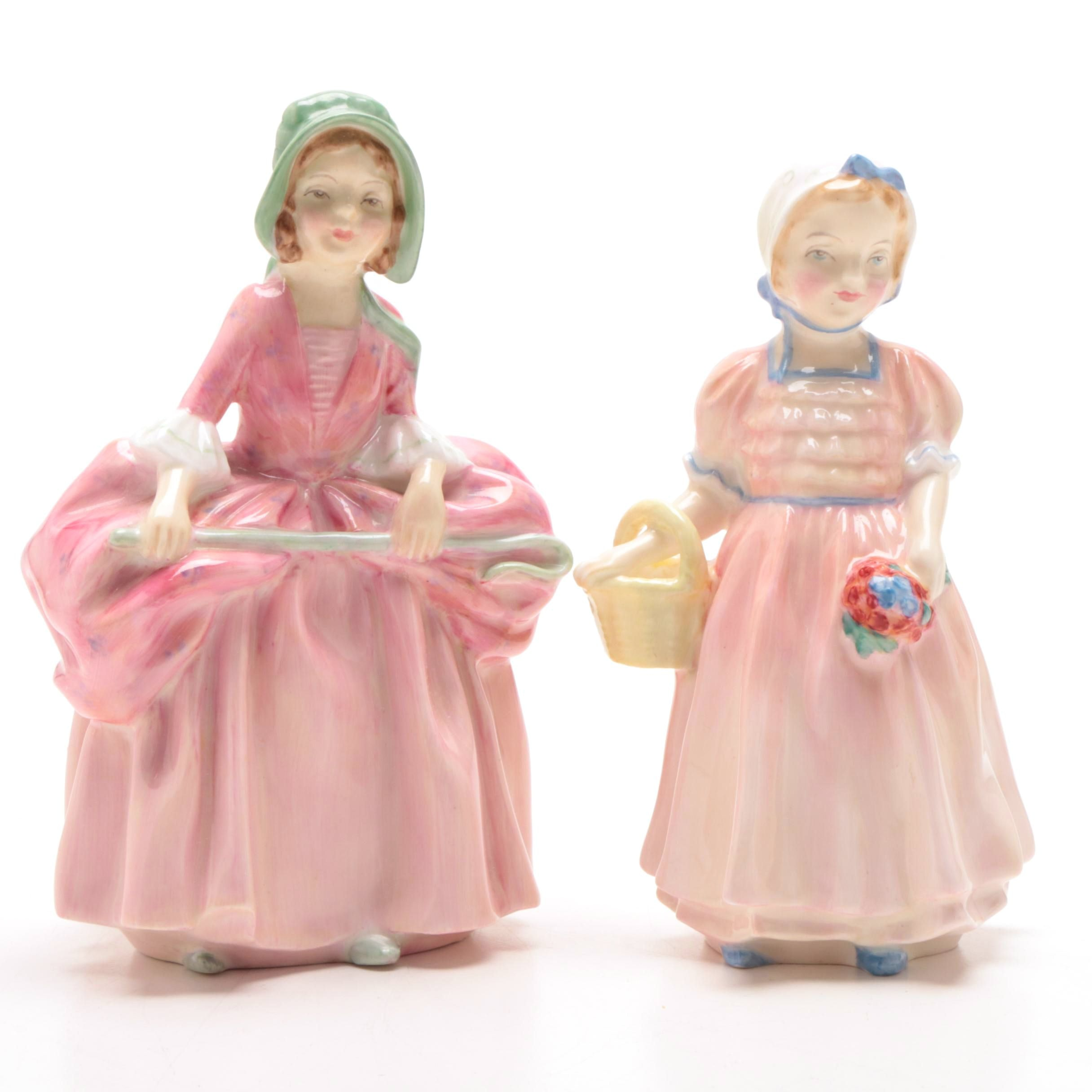 """Royal Doulton """"Tinkle Bell"""" and """"Bo Peep"""" Bone China Figurines"""