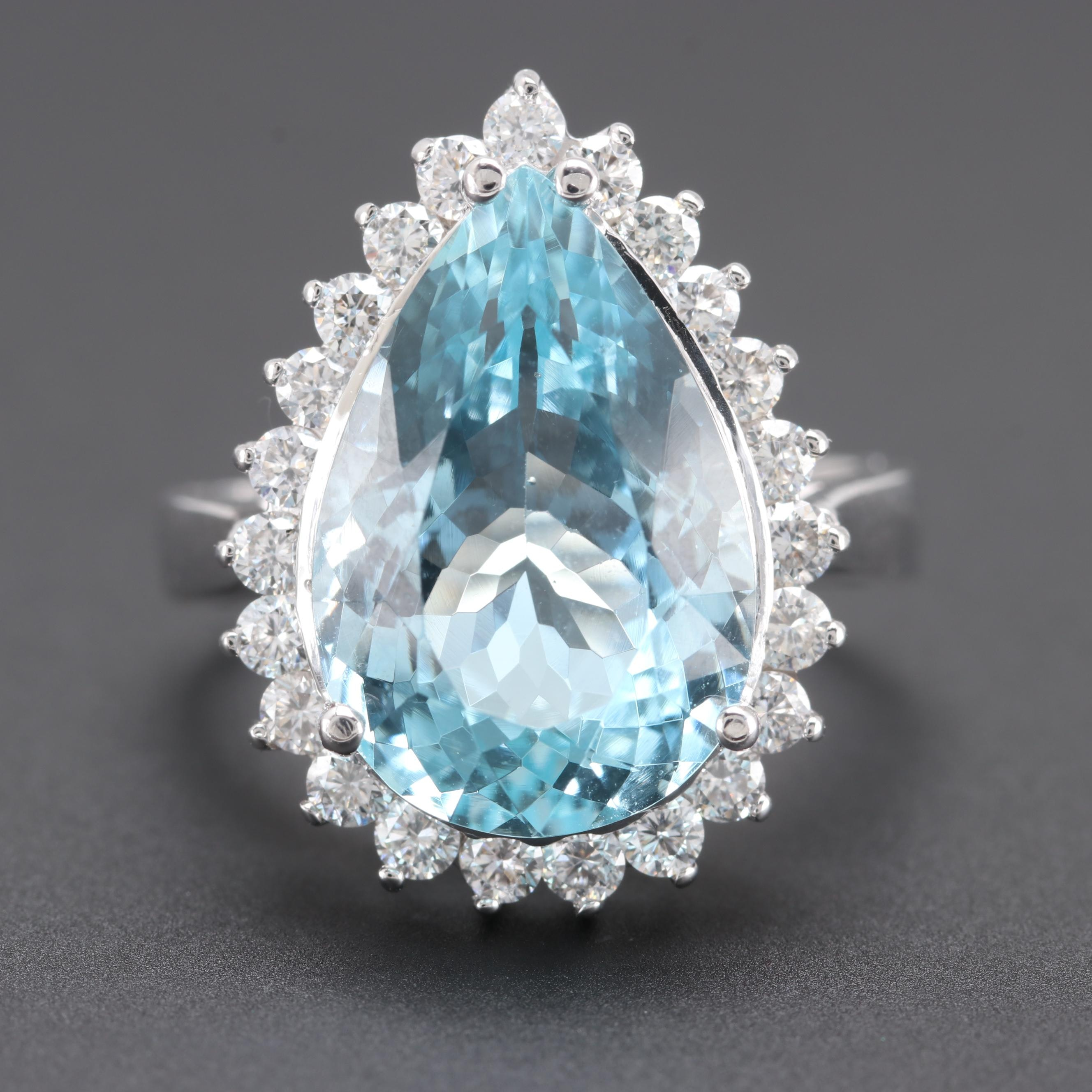 14K White Gold 6.05 CT Aquamarine and Diamond Ring