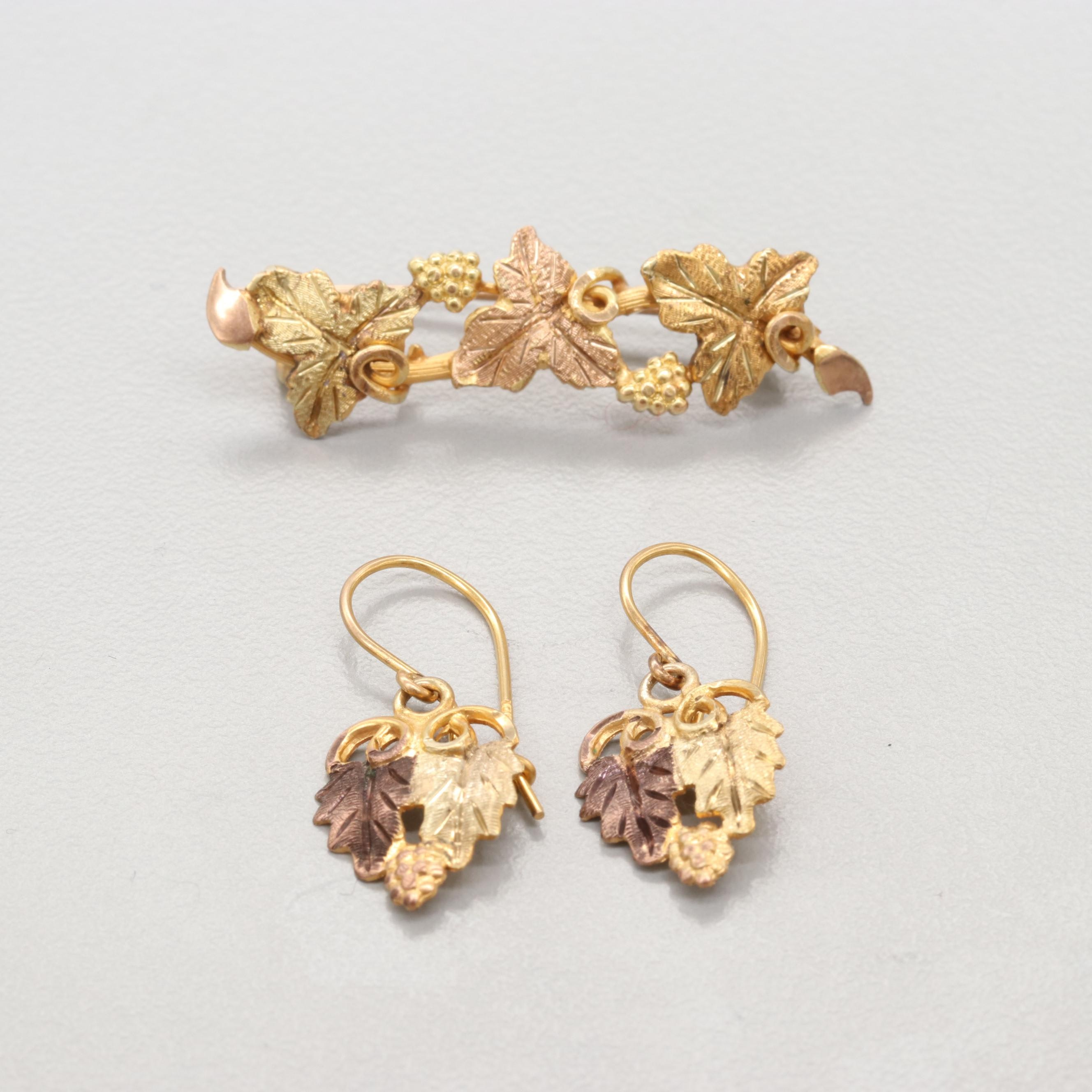 14K Rose Gold and Yellow Gold Brooch and 10K Two Tone Gold Earrings
