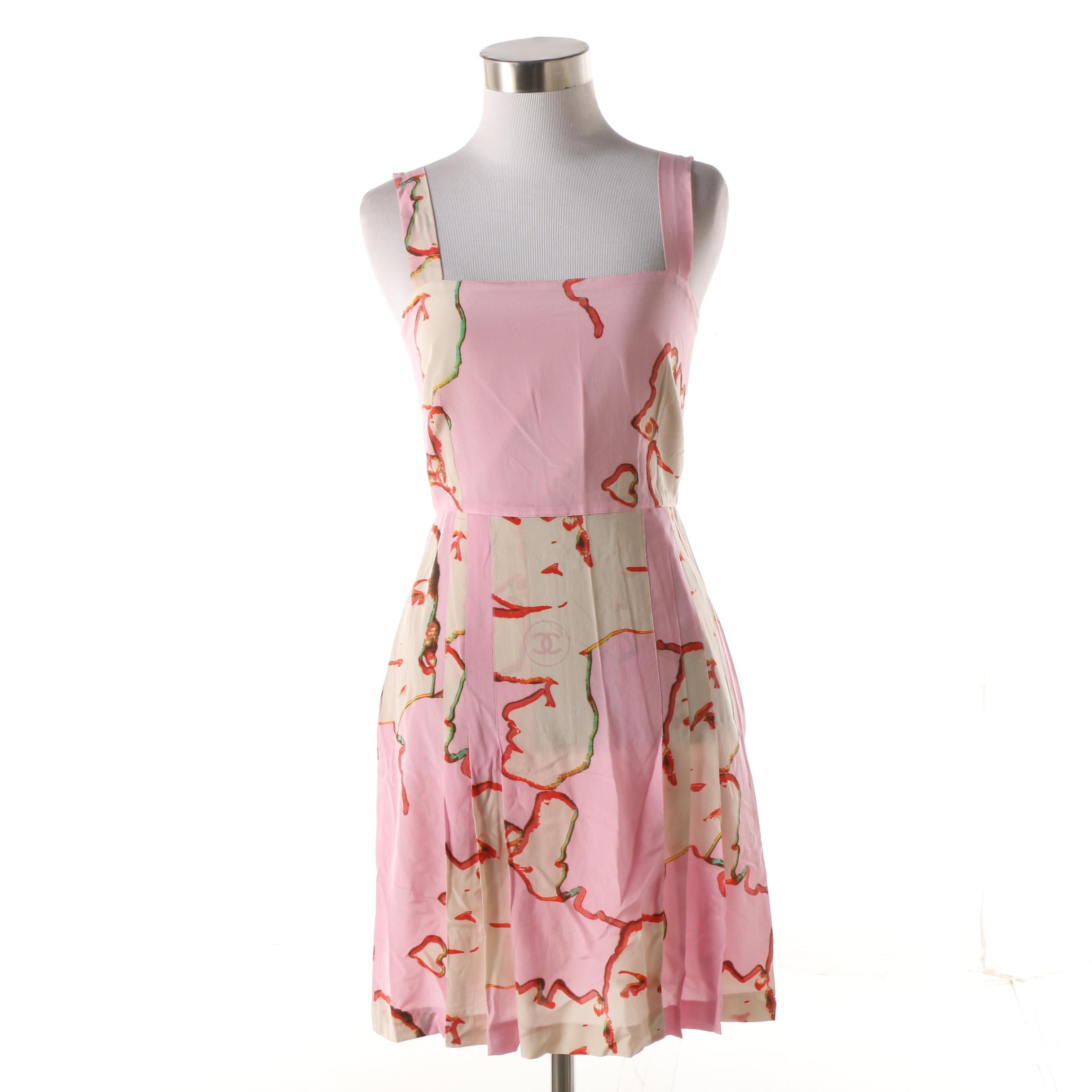 Chanel Pink Silk Abstract Face Print Pleated Apron Dress
