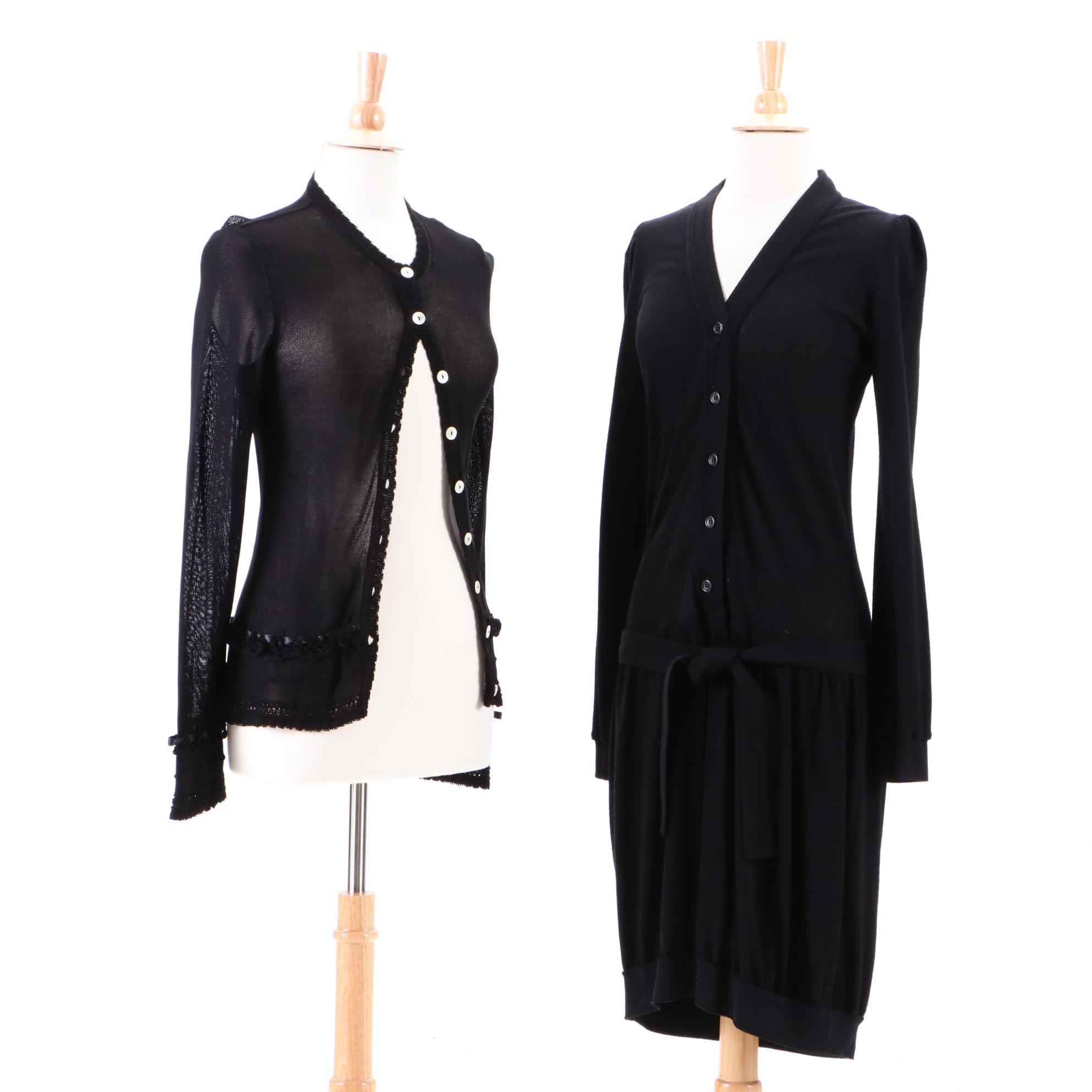 Dolce & Gabbana and Yves Saint Laurent Black Dress and Sheer Cardigan