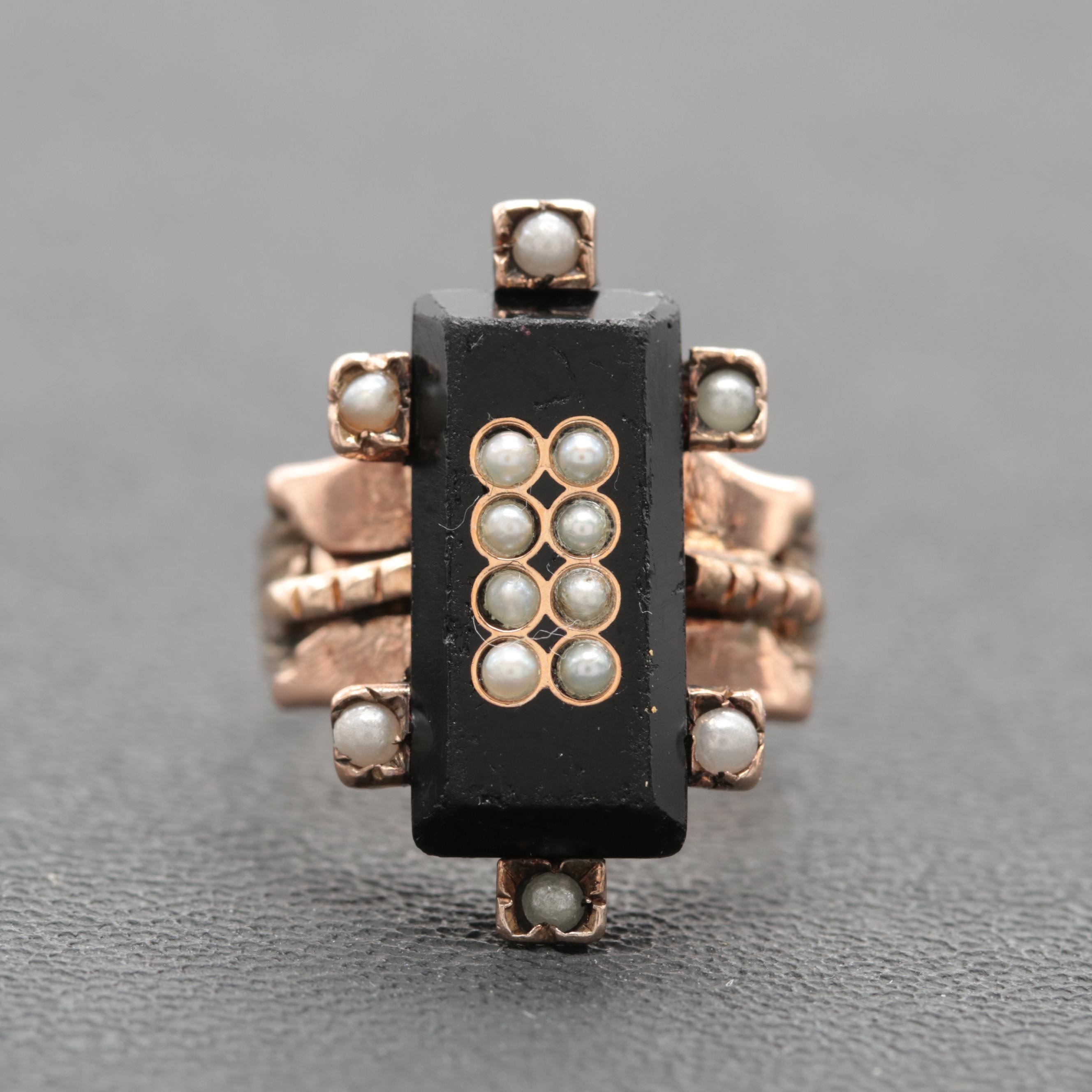 Victorian 8K Rose Gold Black Onyx and Cultured Pearl Ring