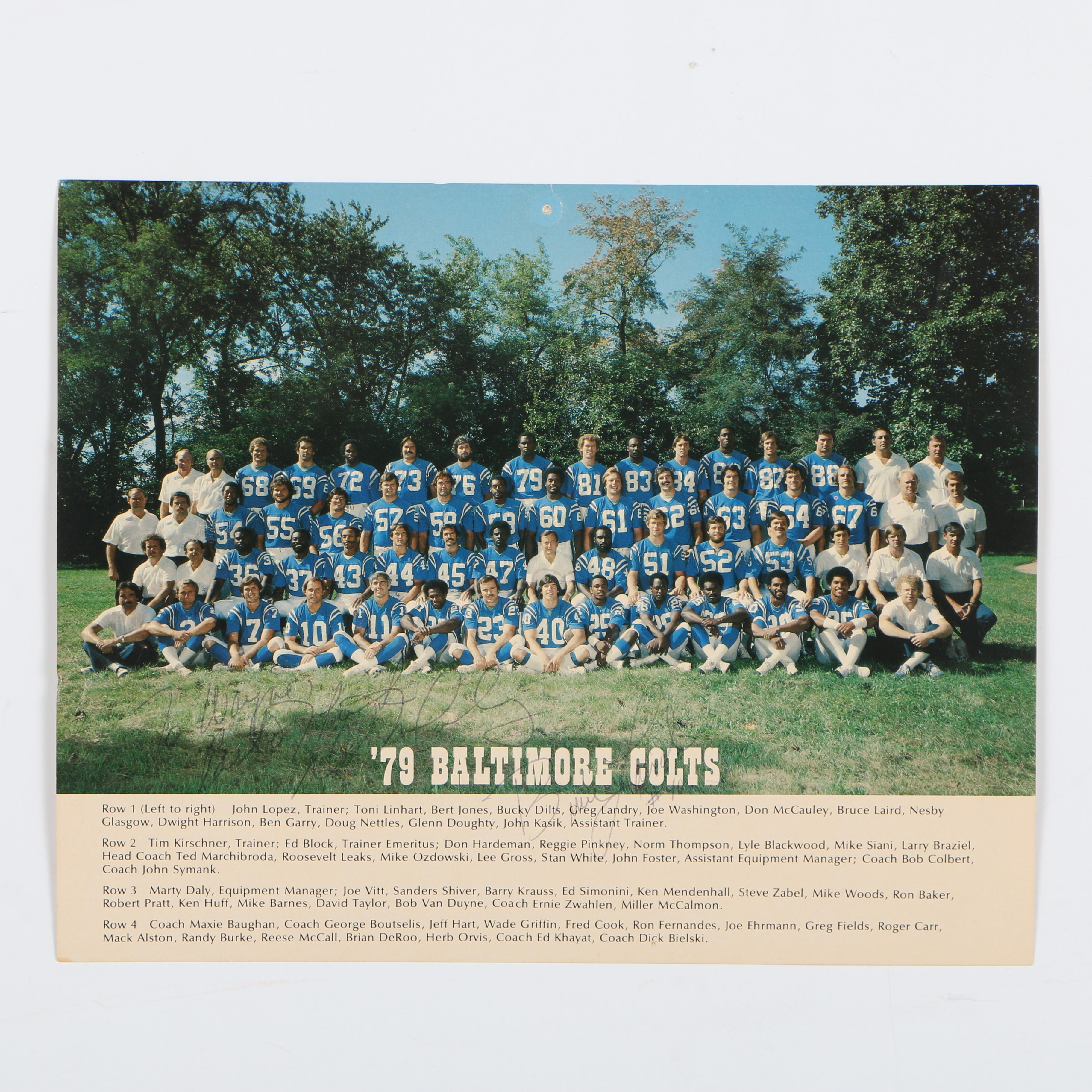 Baltimore Colts Team Photograph with Bruce Laird Signature, 1979