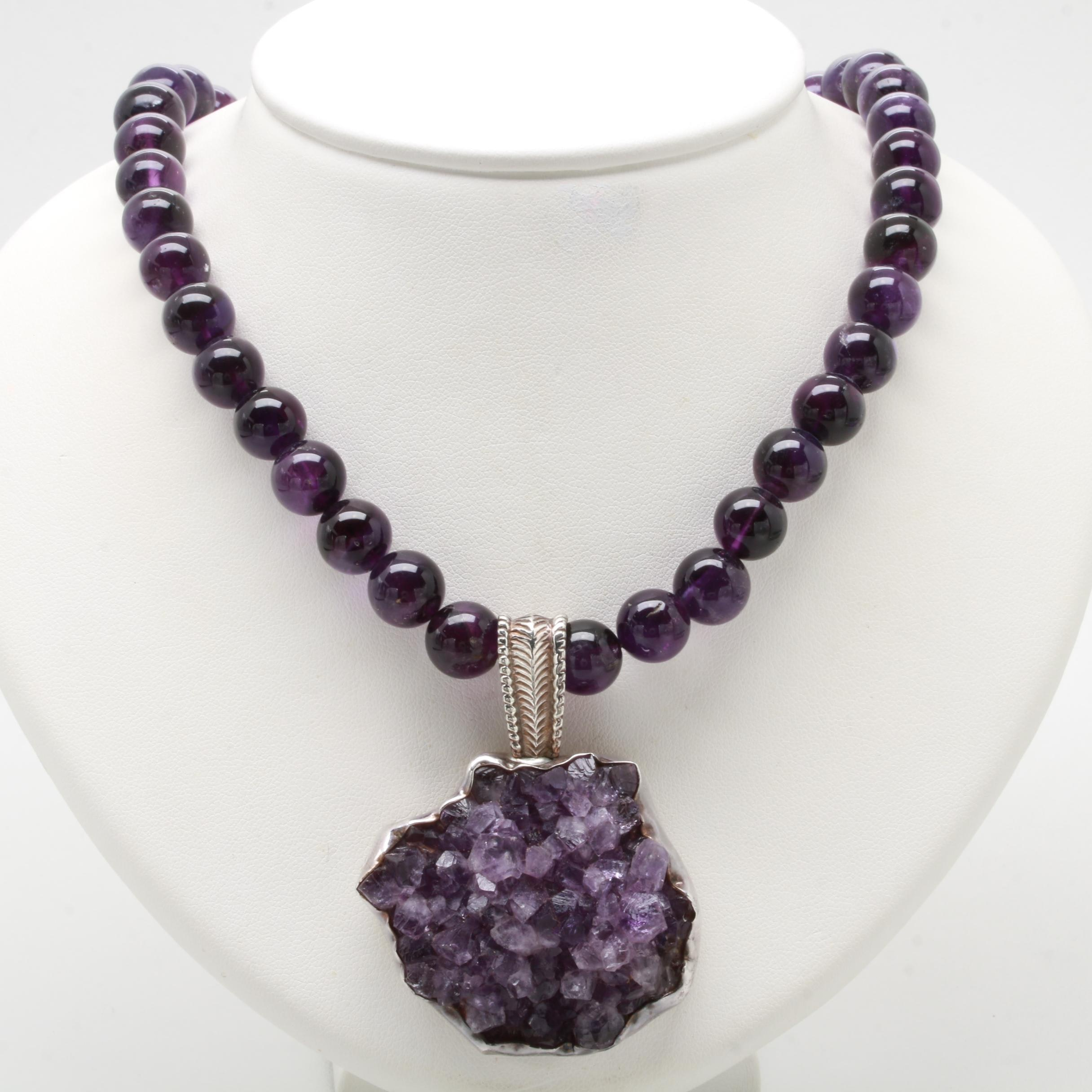 Rebecca Collins Sterling Silver Amethyst Necklace