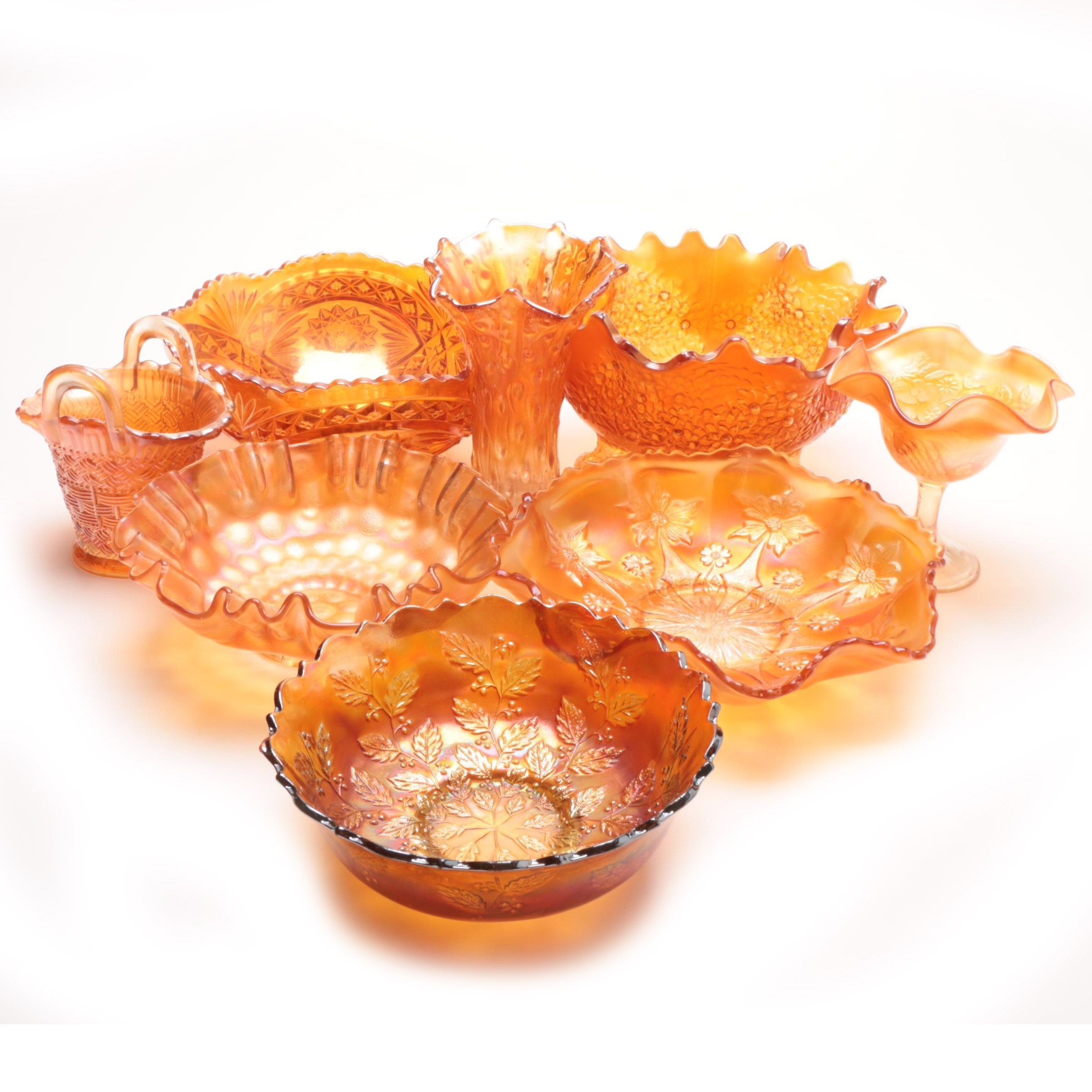 Vintage Marigold Carnival Glass Collection