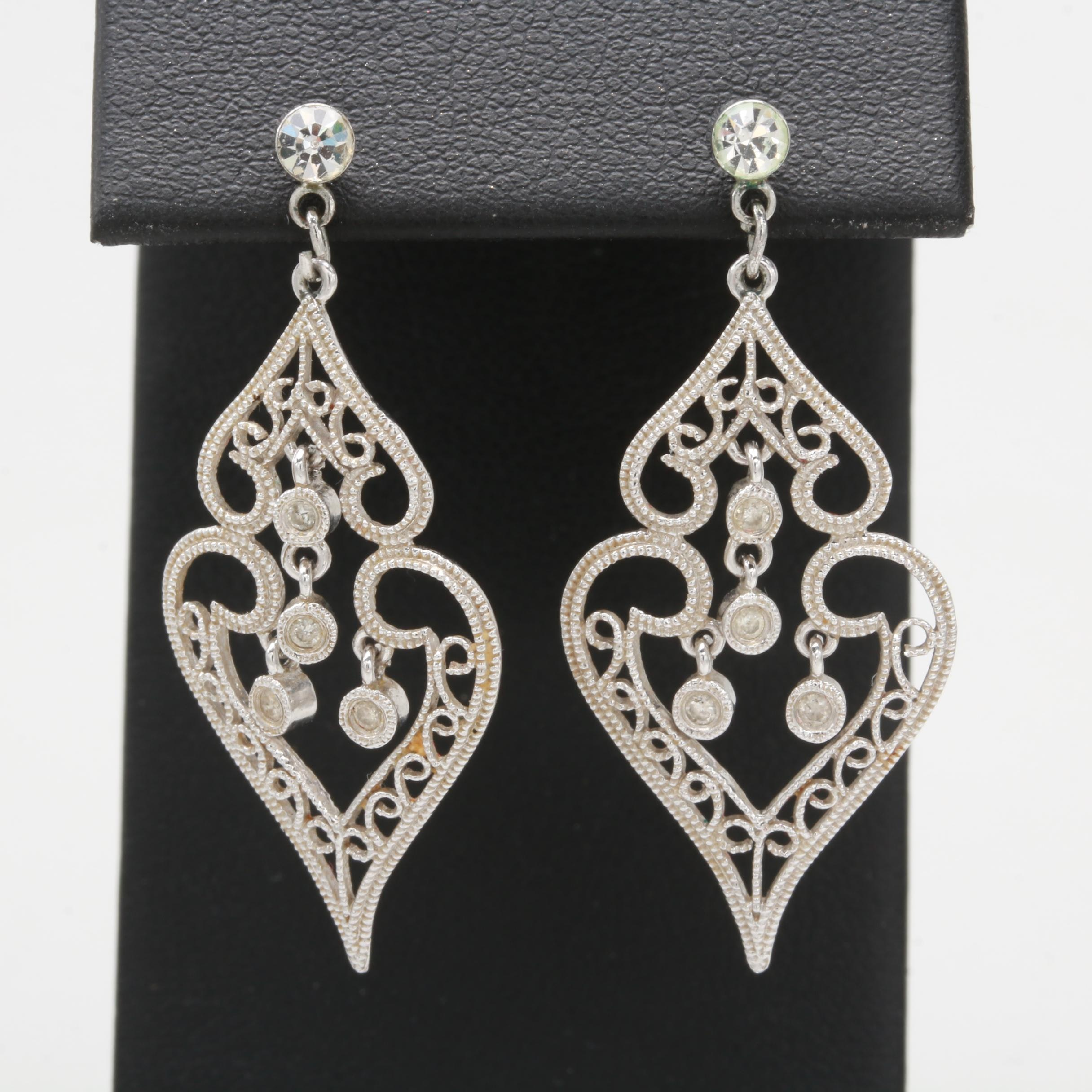 18K White Gold Diamond and Glass Crystal Earrings