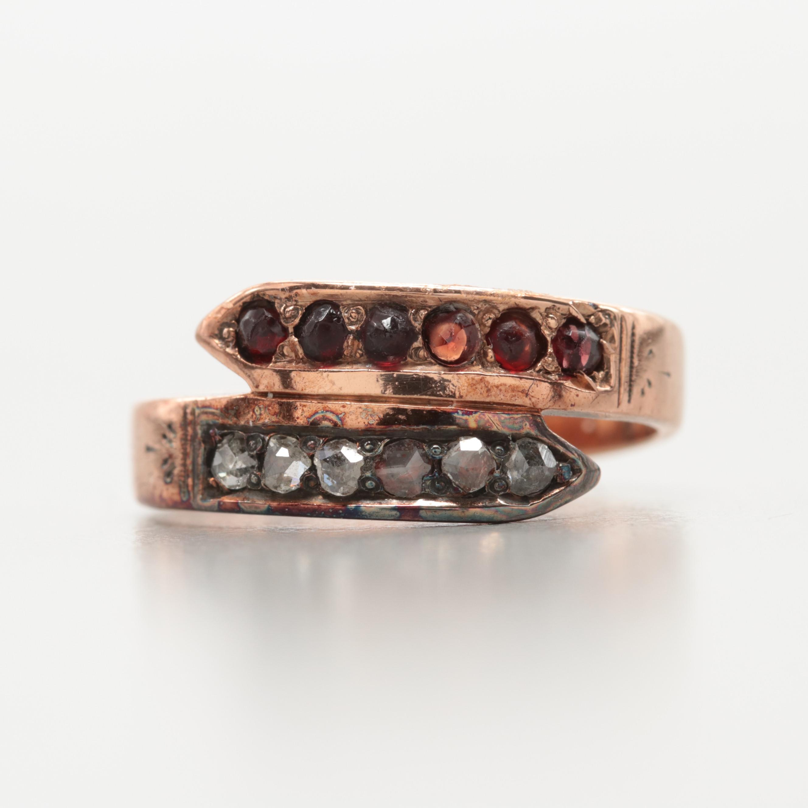 Early Victorian 10K Yellow Gold Diamond and Garnet Ring