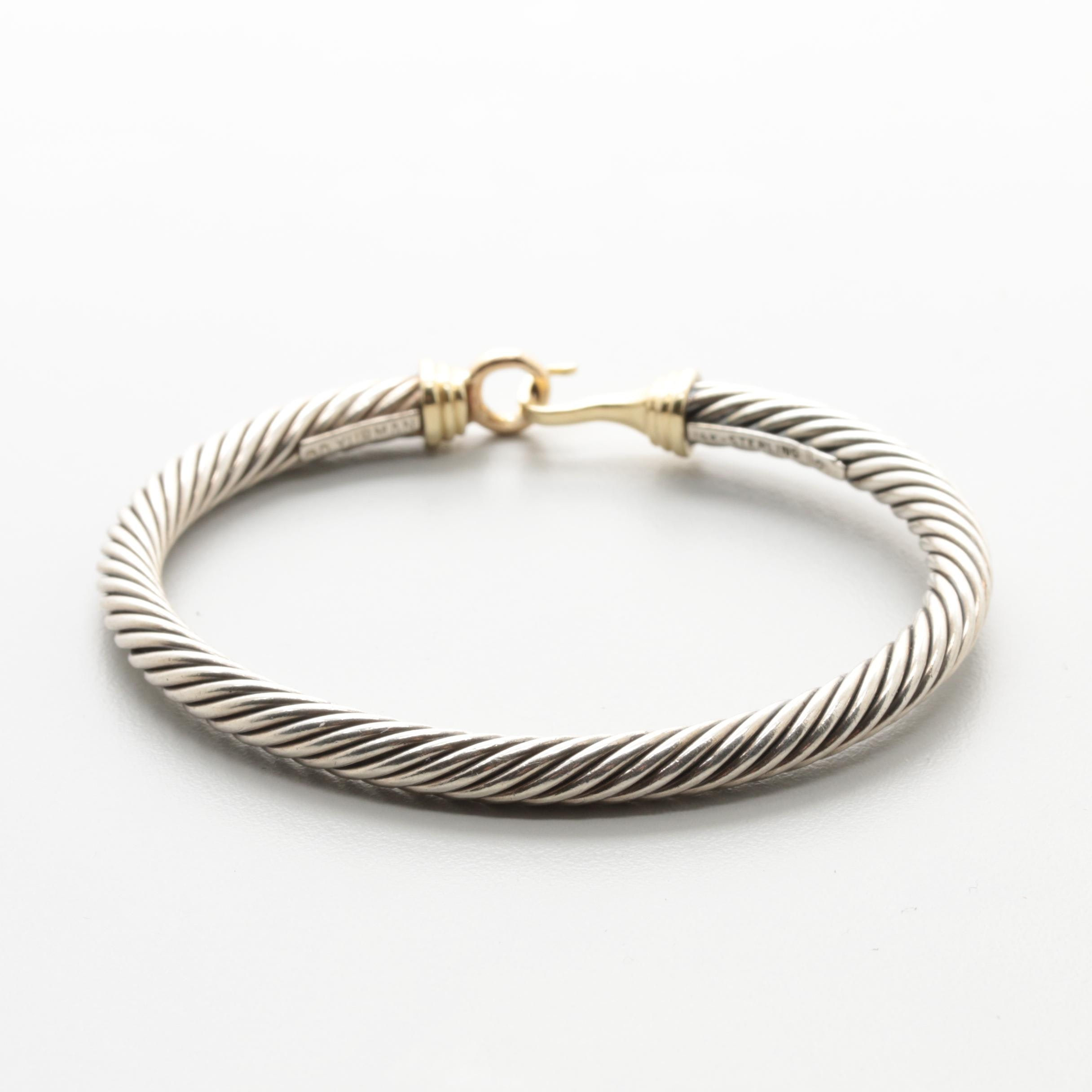 David Yurman Sterling Silver and 14K Yellow Gold Cable Buckle Bracelet