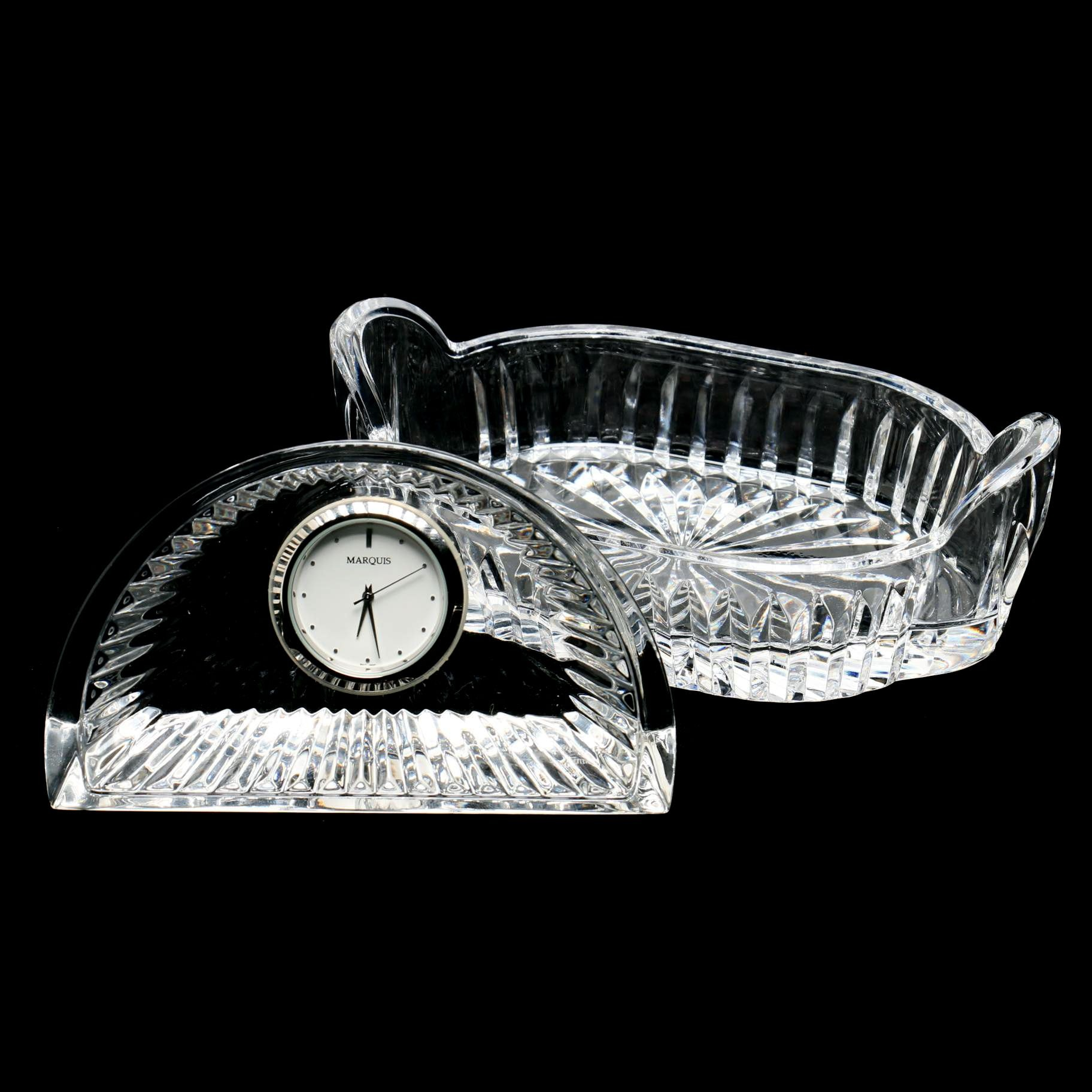 Marquis by Waterford Crystal Desk Clock and Dish