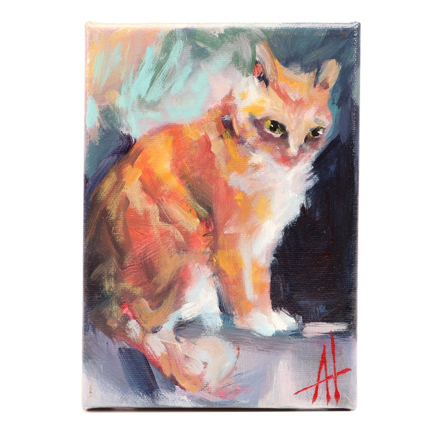 Anne Thouthip Acrylic Painting of Cat