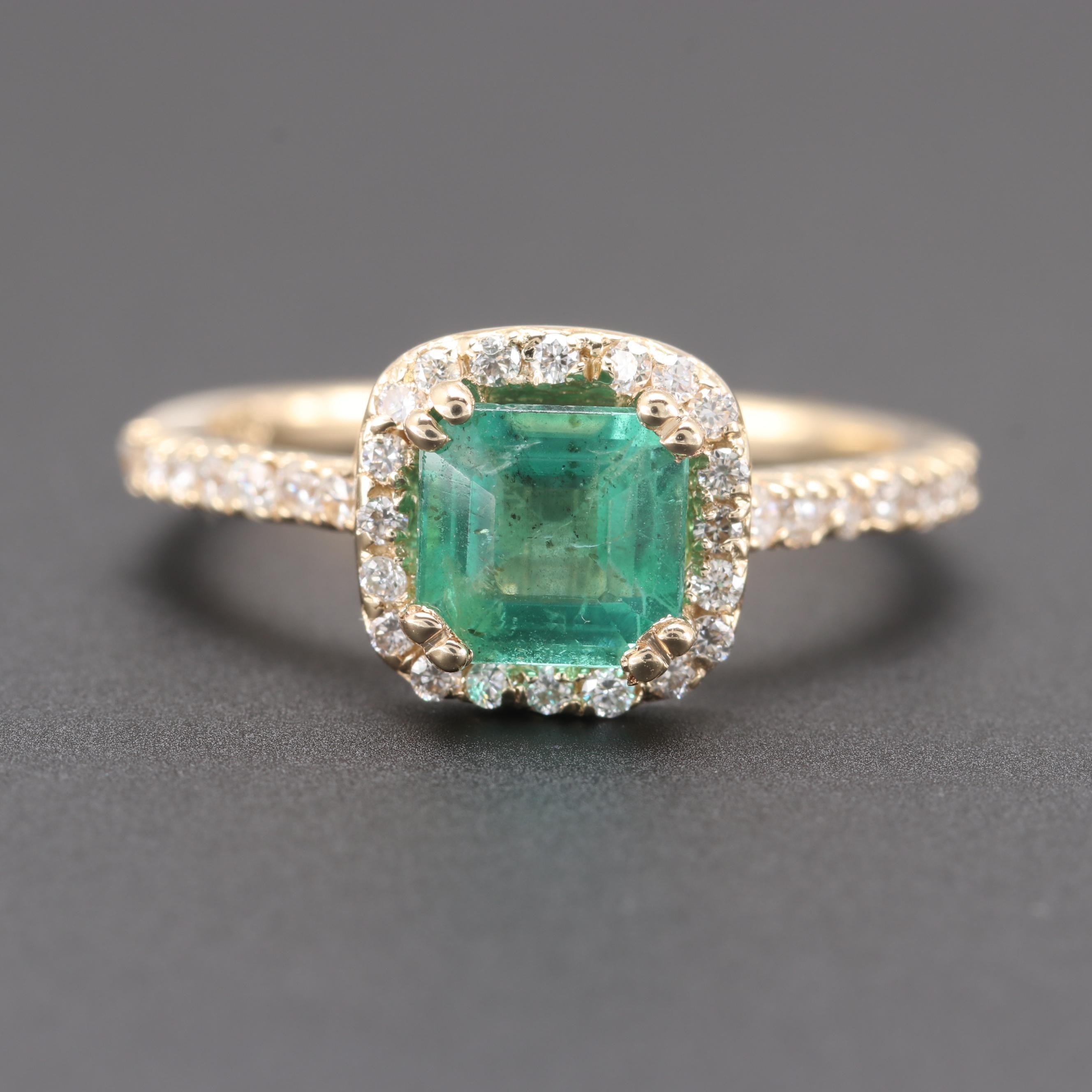 14K Yellow Gold 1.01 CT Emerald and Diamond Ring