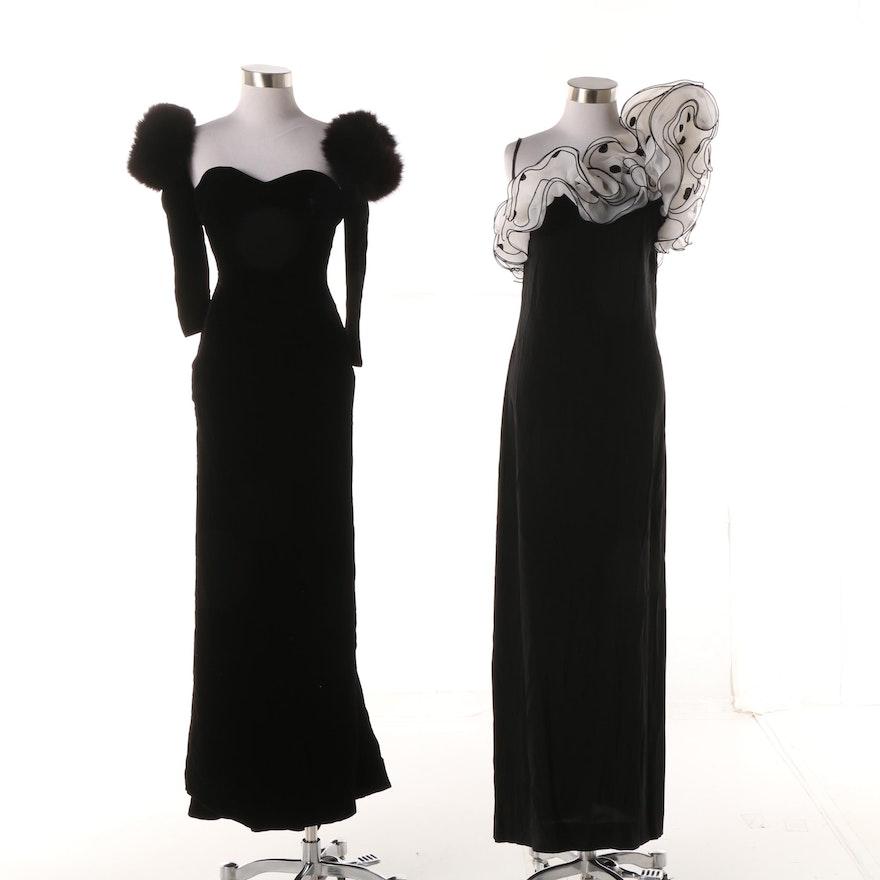 a137160df92 Women s 1990s Victor Costa Black Formal Evening Gowns including Fox Fur  Trim