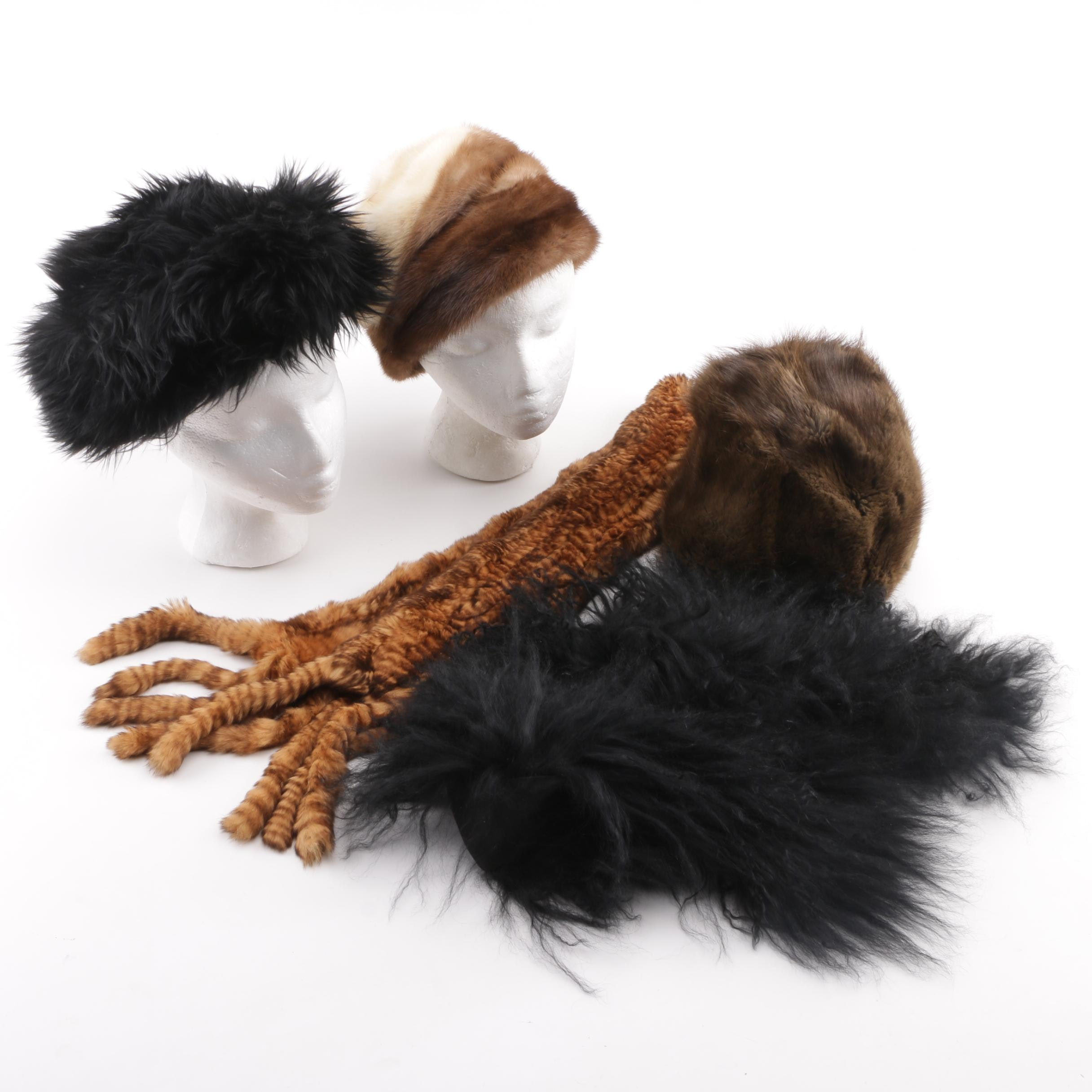 Mink, Muskrat, and Tuscan Lamb Fur Hats, Mongolian Lamb Collar and Rabbit Scarf