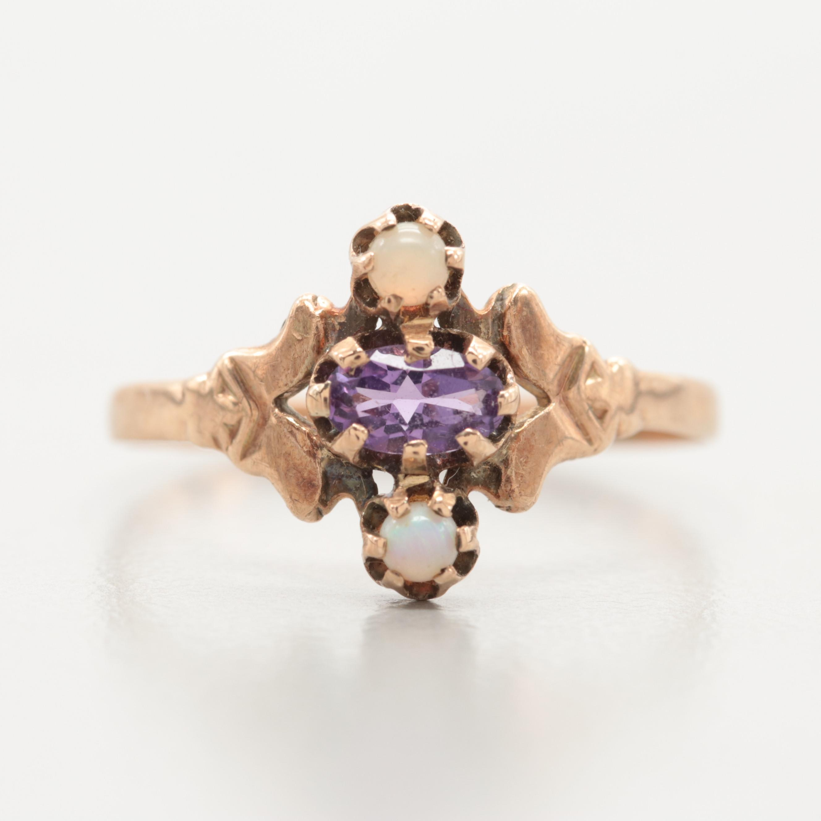 Victorian 10K Yellow Gold and Amethyst and Opal Ring
