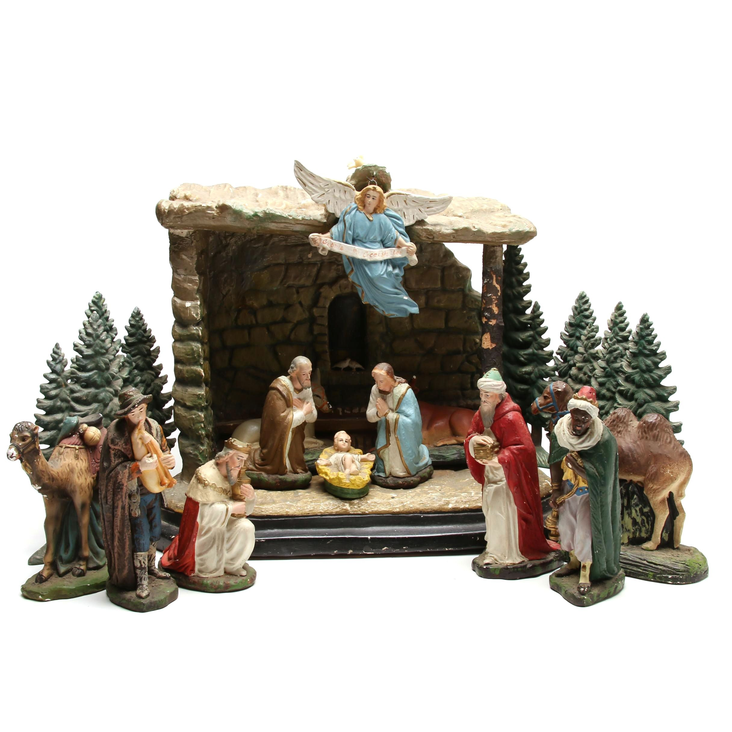 Electrified 1960s Era Christmas Nativity Display With Numerous Figurines