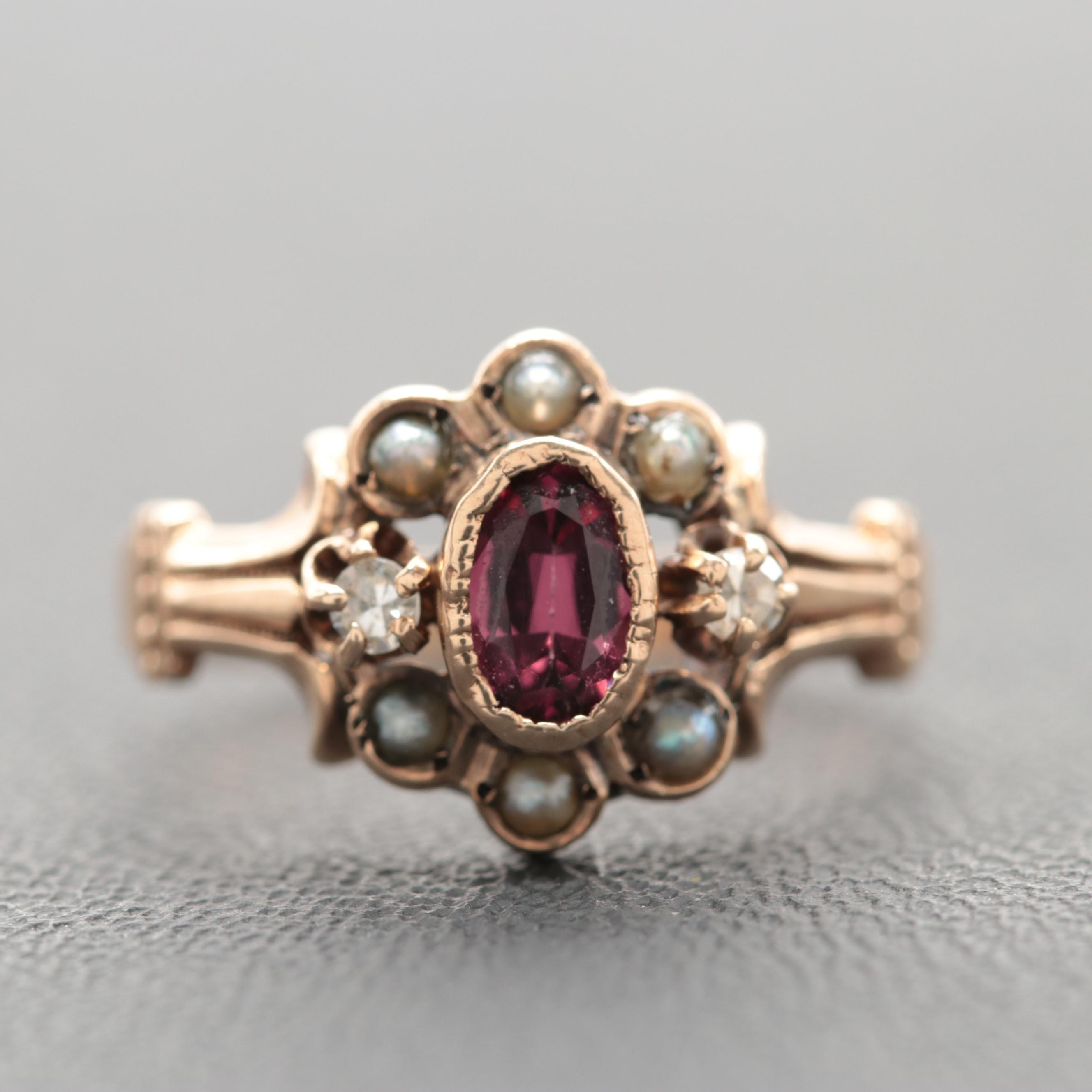 Victorian 10K Rose Gold Garnet, Diamond and Cultured Pearl Ring