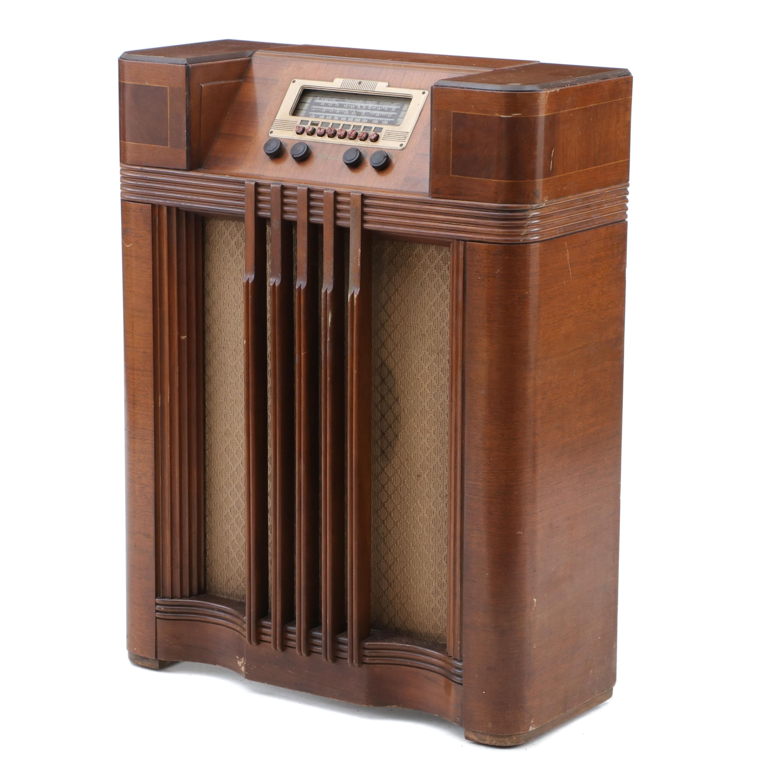 Art-Deco-Style 1930s-1940s Philco Model 40-185 Tube Console Radio