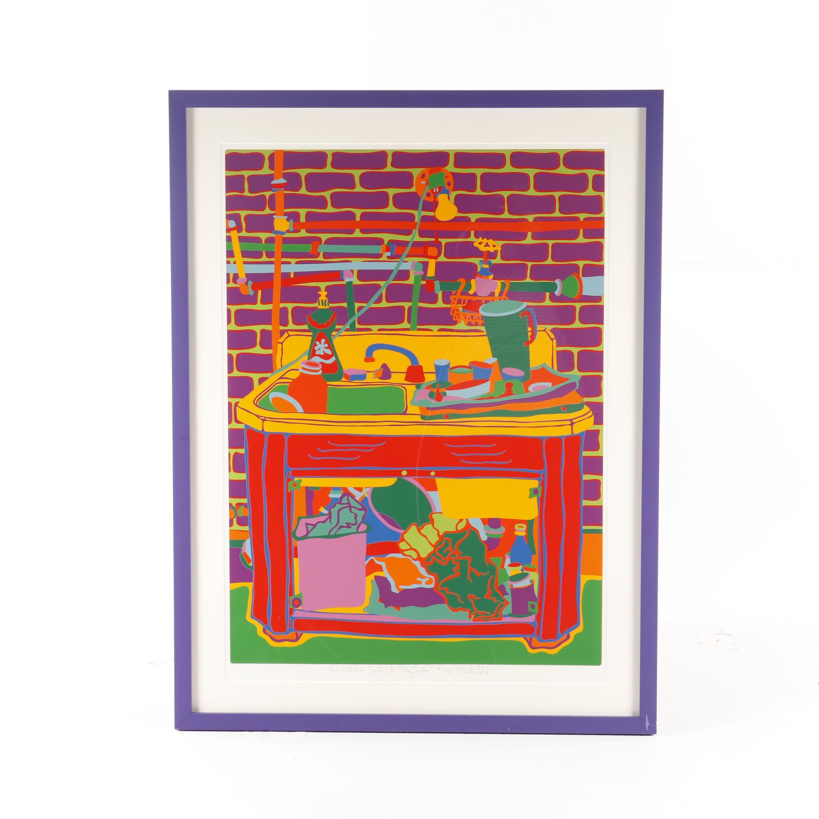 """Clayton Pond Serigraph """"The Kitchen Sink in My Studio"""""""
