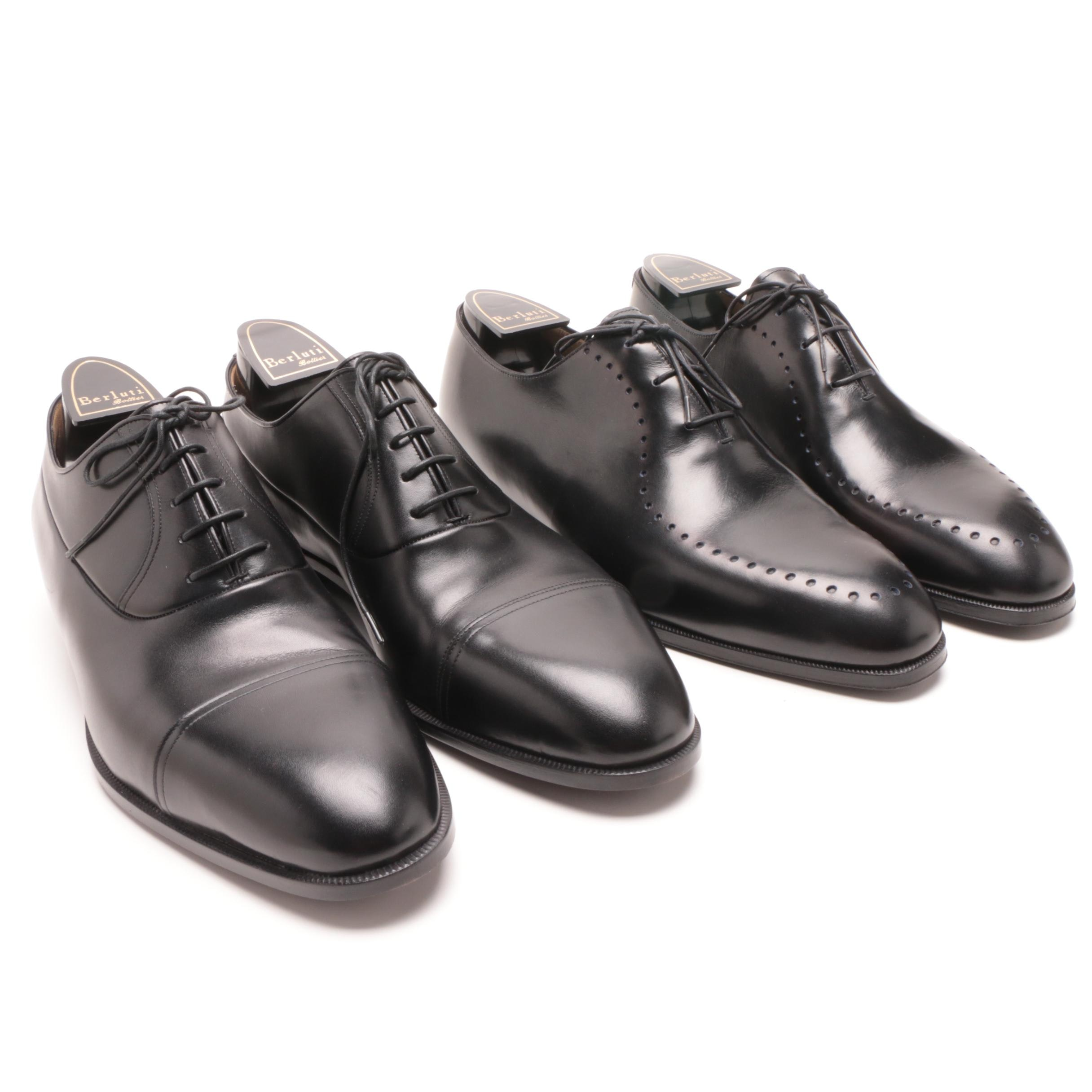 Berluti Black Leather Dress Shoes