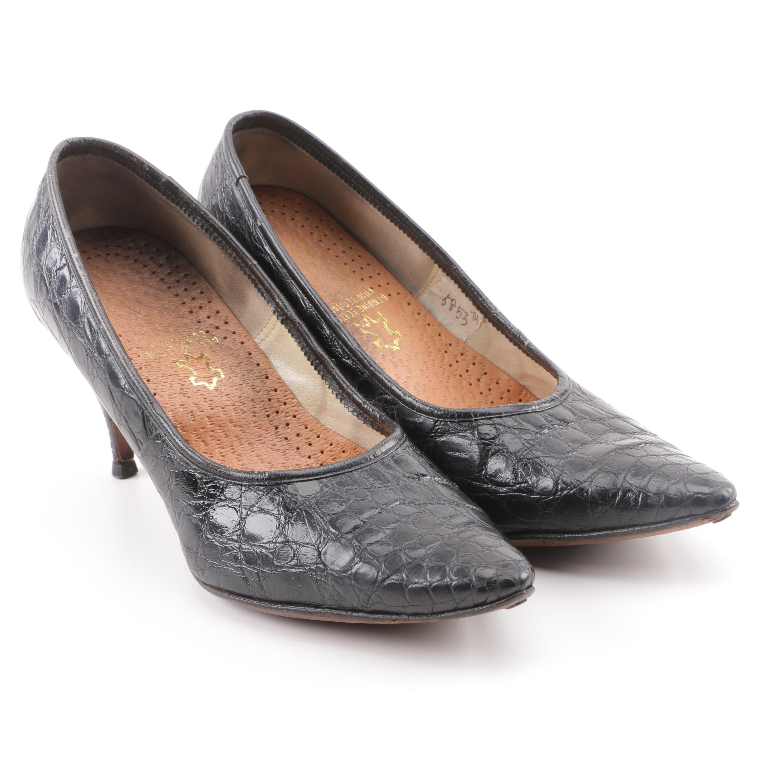 Women's Vintage Alligator Embossed Black Leather Pumps