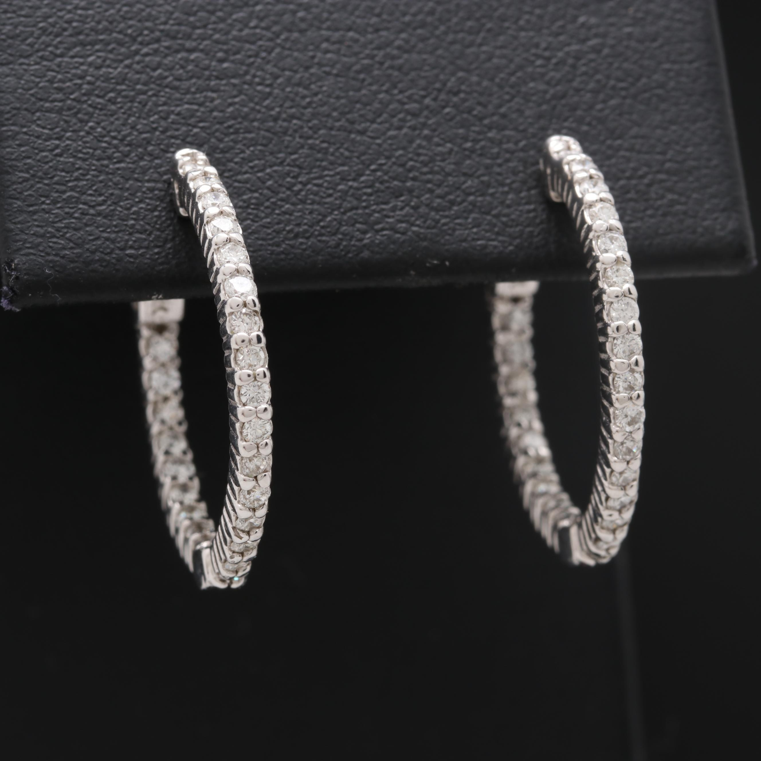 14K White Gold Diamond Inside-Out Hoop Earrings