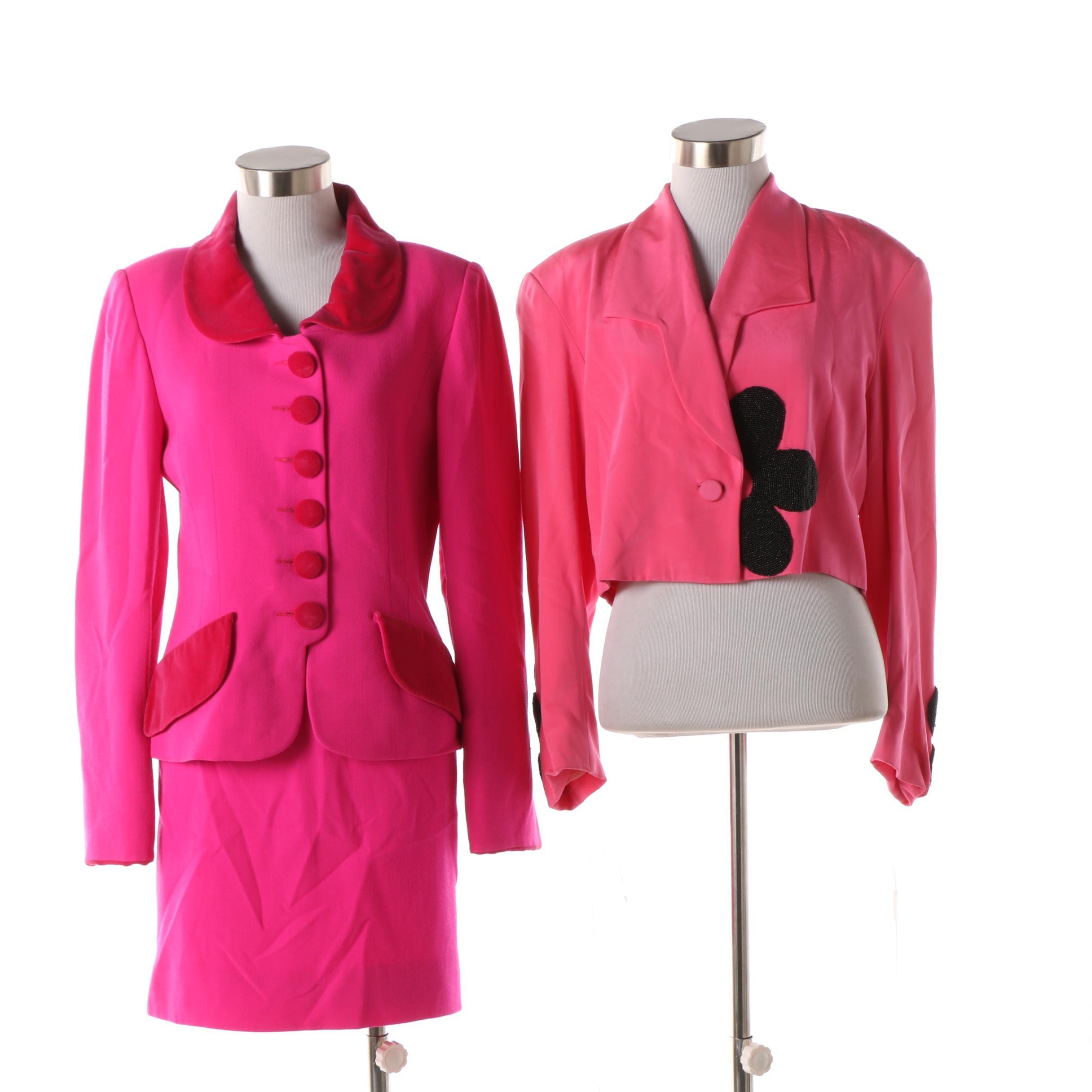1980s Nina Ricci Edition Boutique Paris Skirt Suit with Rita Mildred Silk Jacket