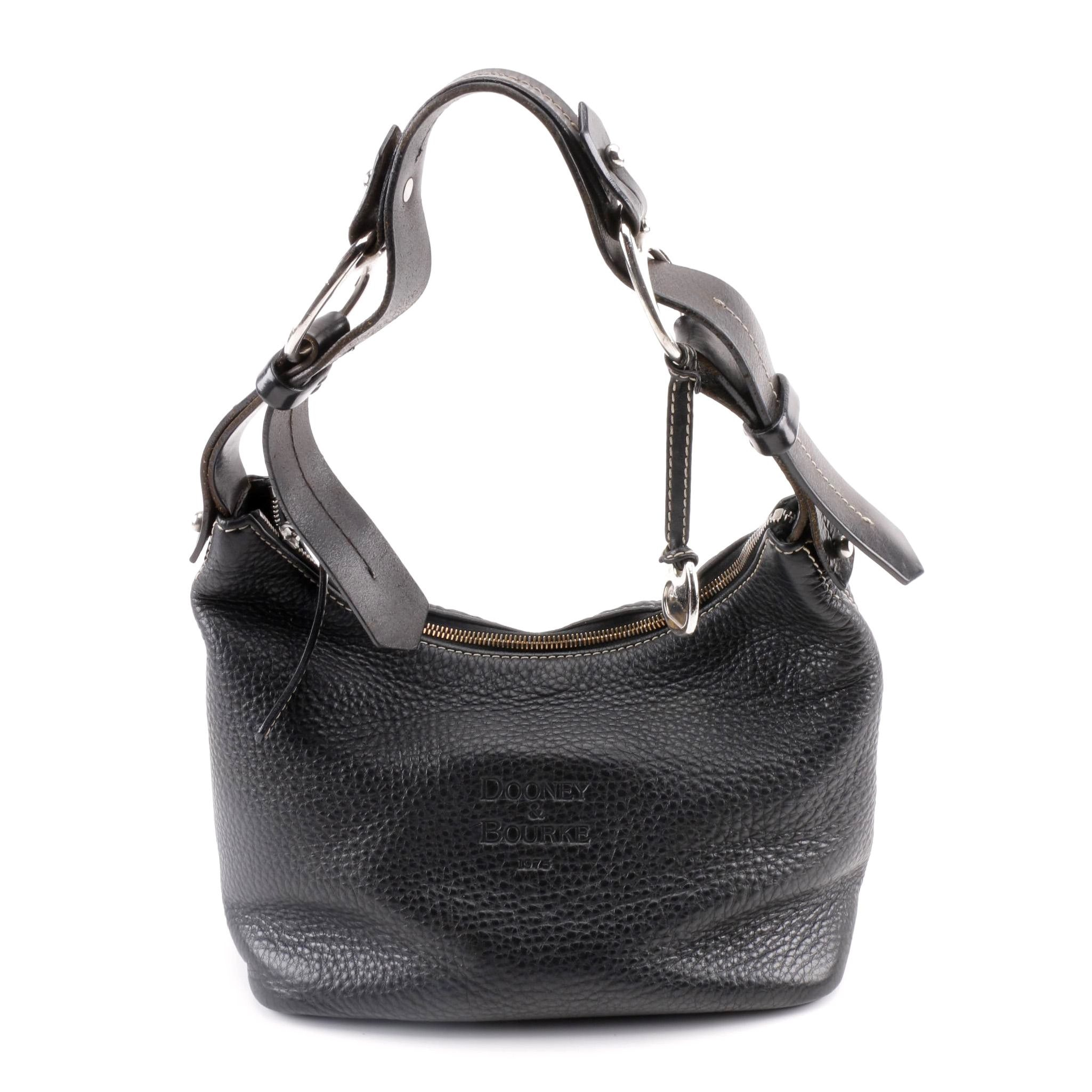 Dooney & Bourke Black Pebbled Leather Hobo Bag