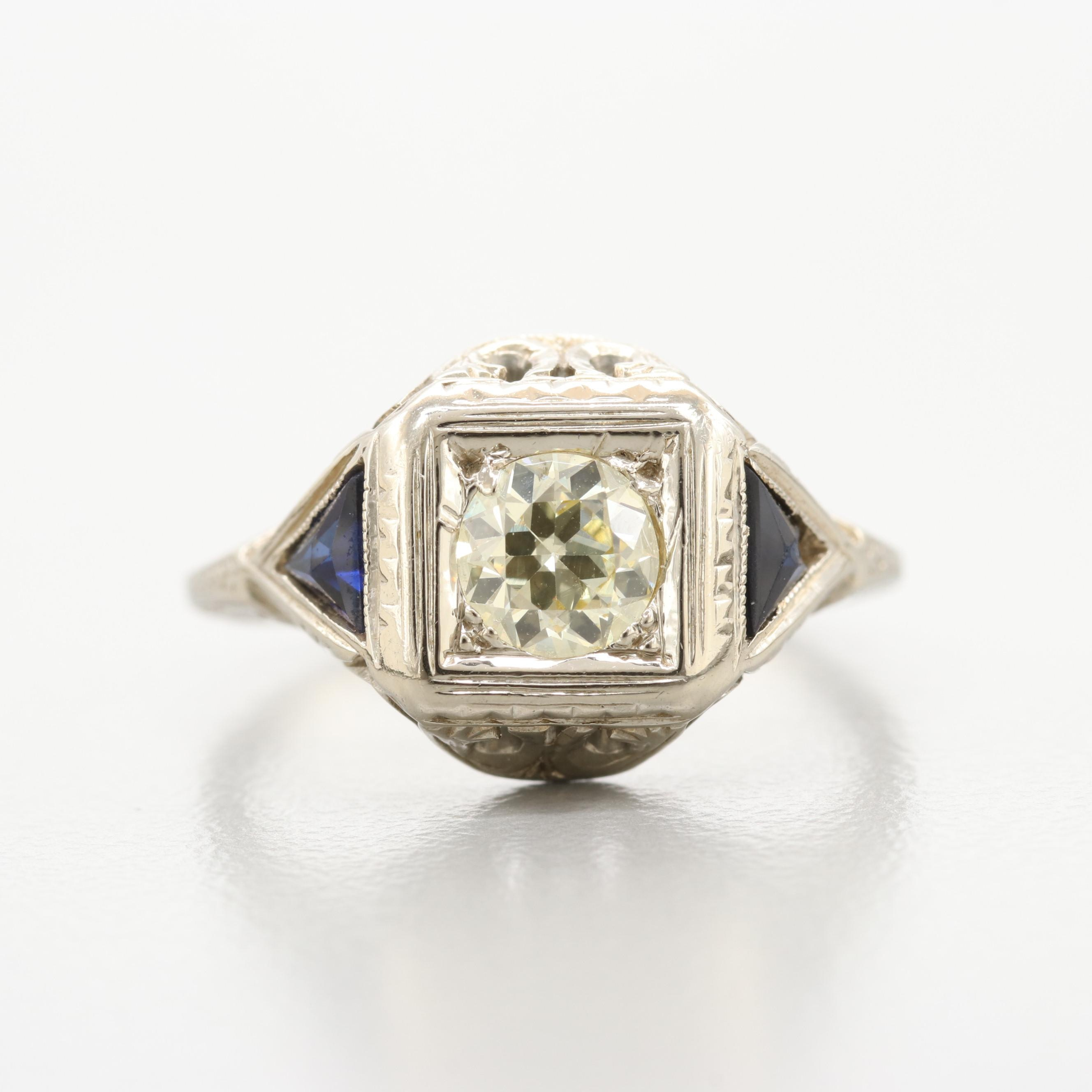 Belais Brothers Art Deco 18K White Gold Diamond and Synthetic Sapphire Ring