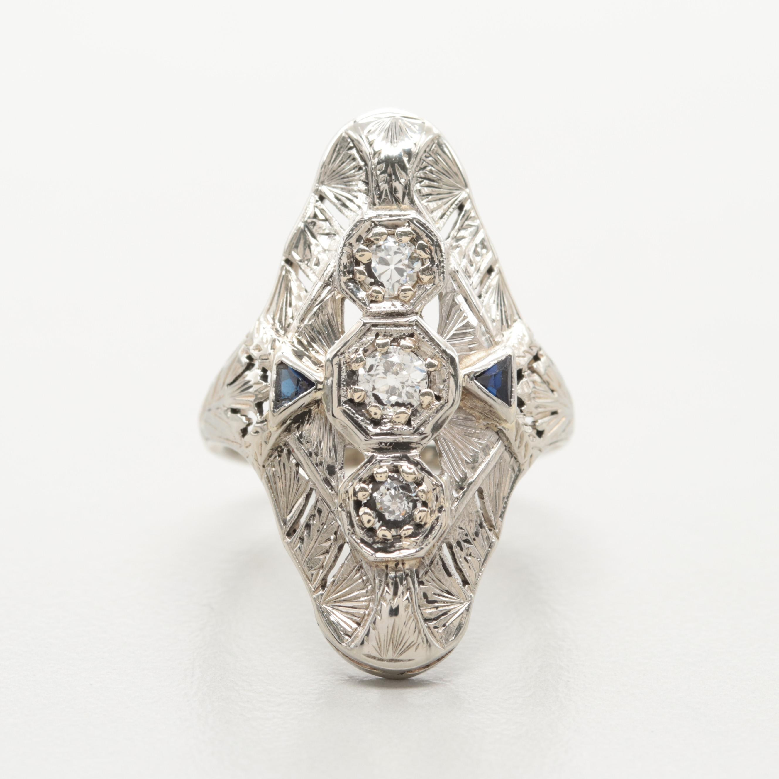 Early Art Deco 18K White Gold Synthetic Sapphire and Diamond Navette Dinner Ring