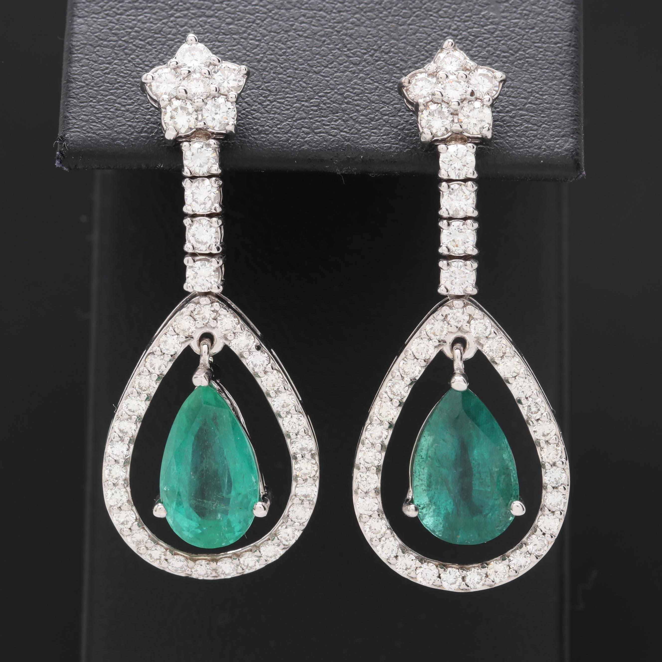 14K White Gold 4.30 CTW Emerald and 2.33 CTW Diamond Earrings