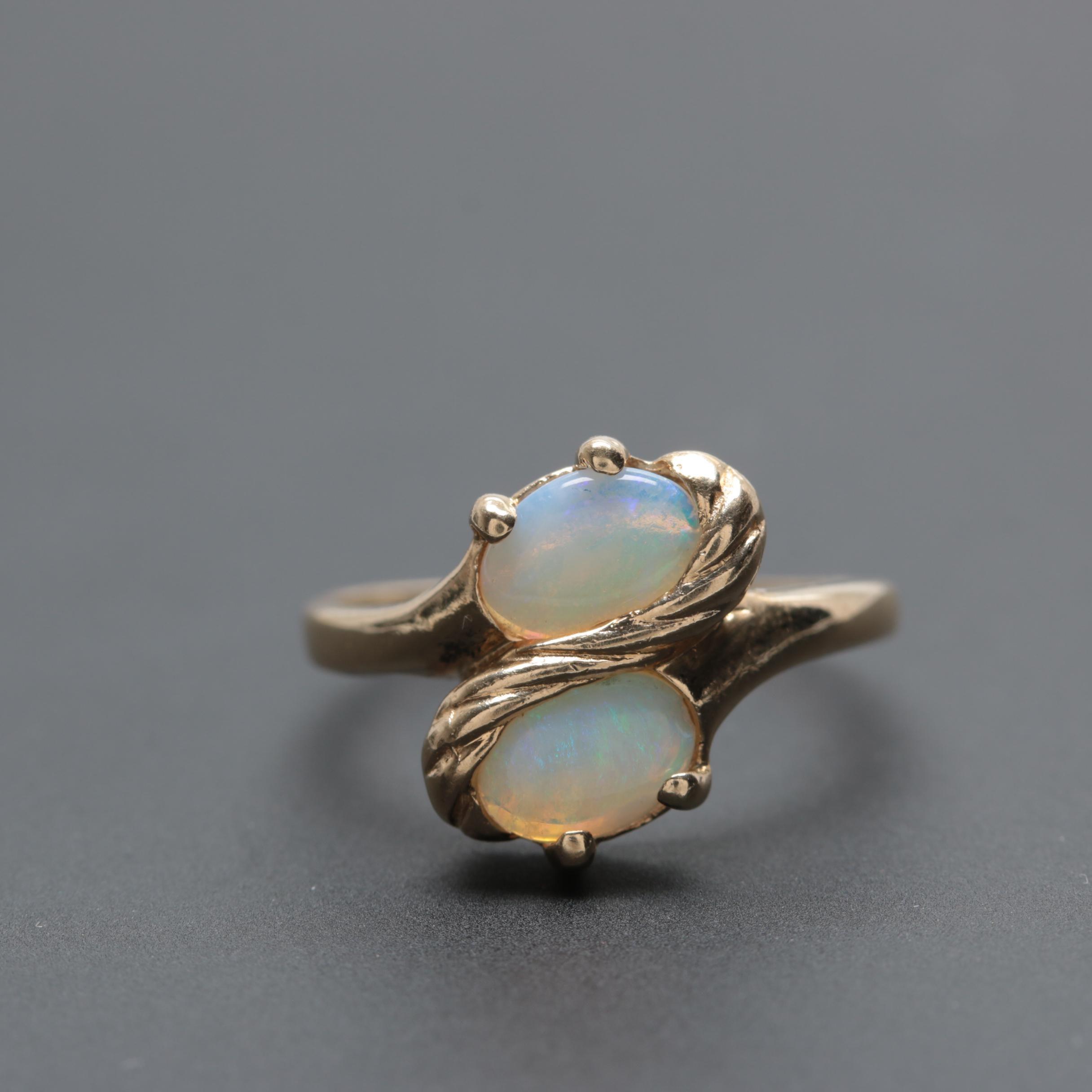 14K Yellow Gold Opal Bypass Ring