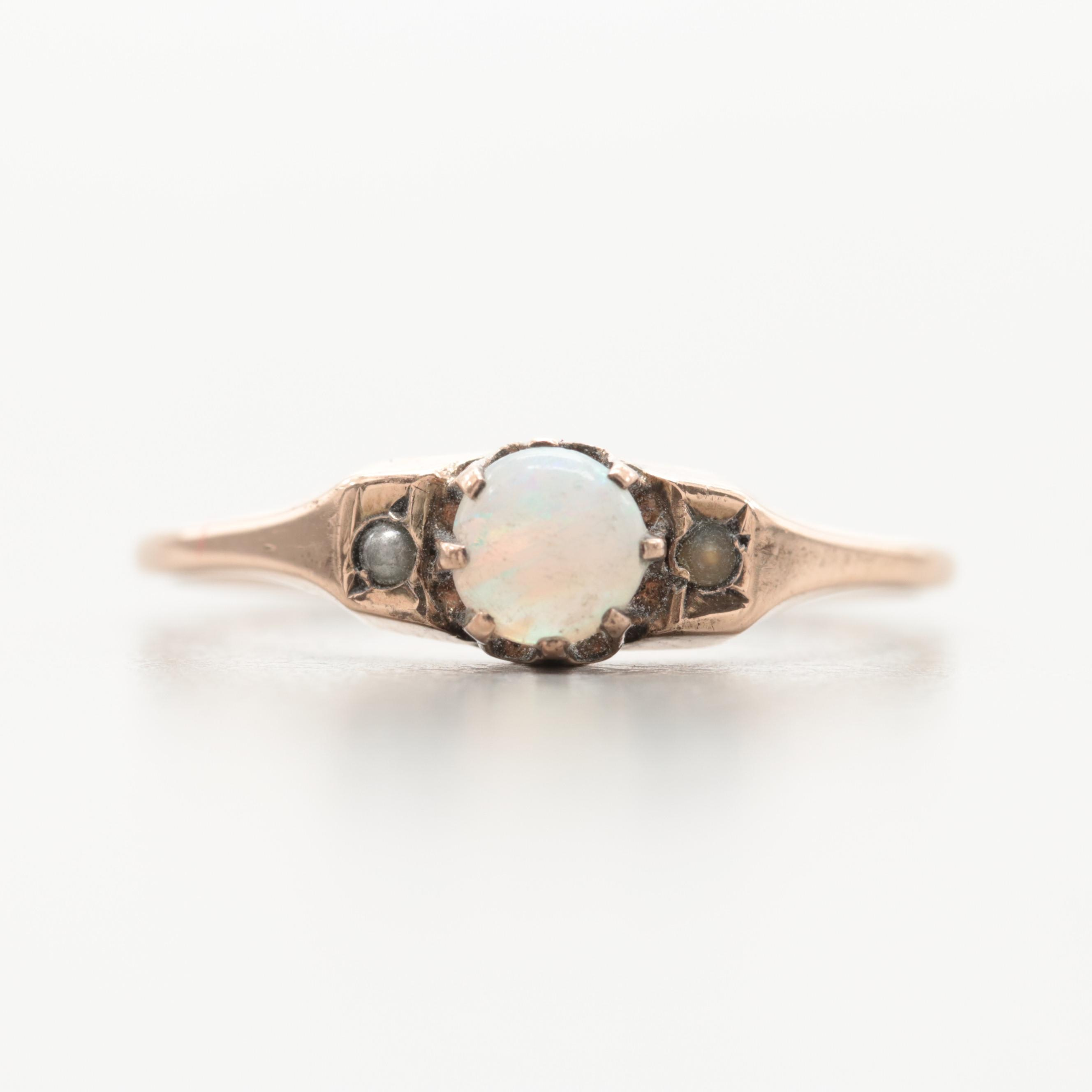 Victorian 10K Yellow Gold Opal, Cultured Pearl and Imitation Pearl Ring