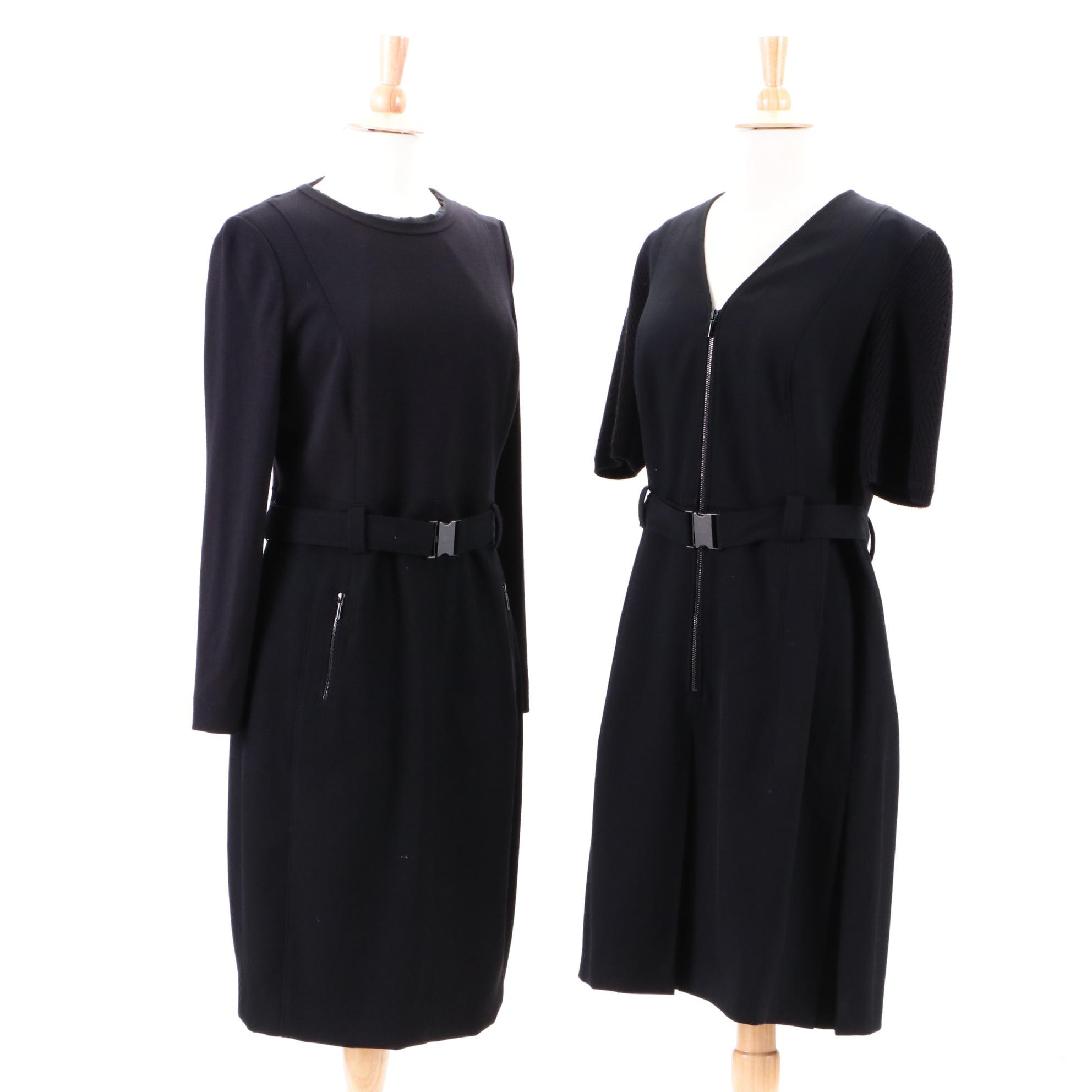 A-K-R-I-S Punto Black Wool Casual Dresses