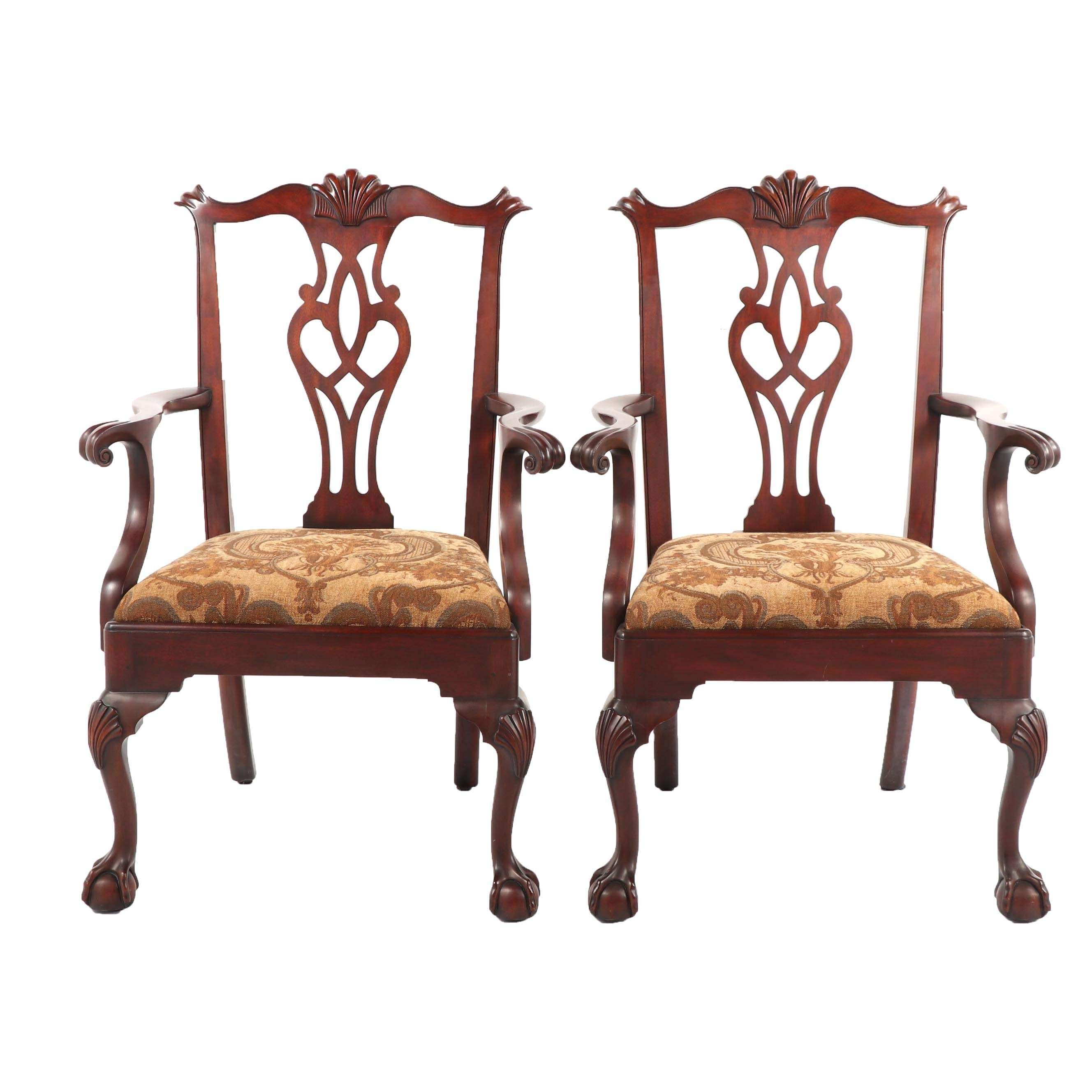 Federal Style Mahogany Armchairs by Henkel-Harris, 20th Century
