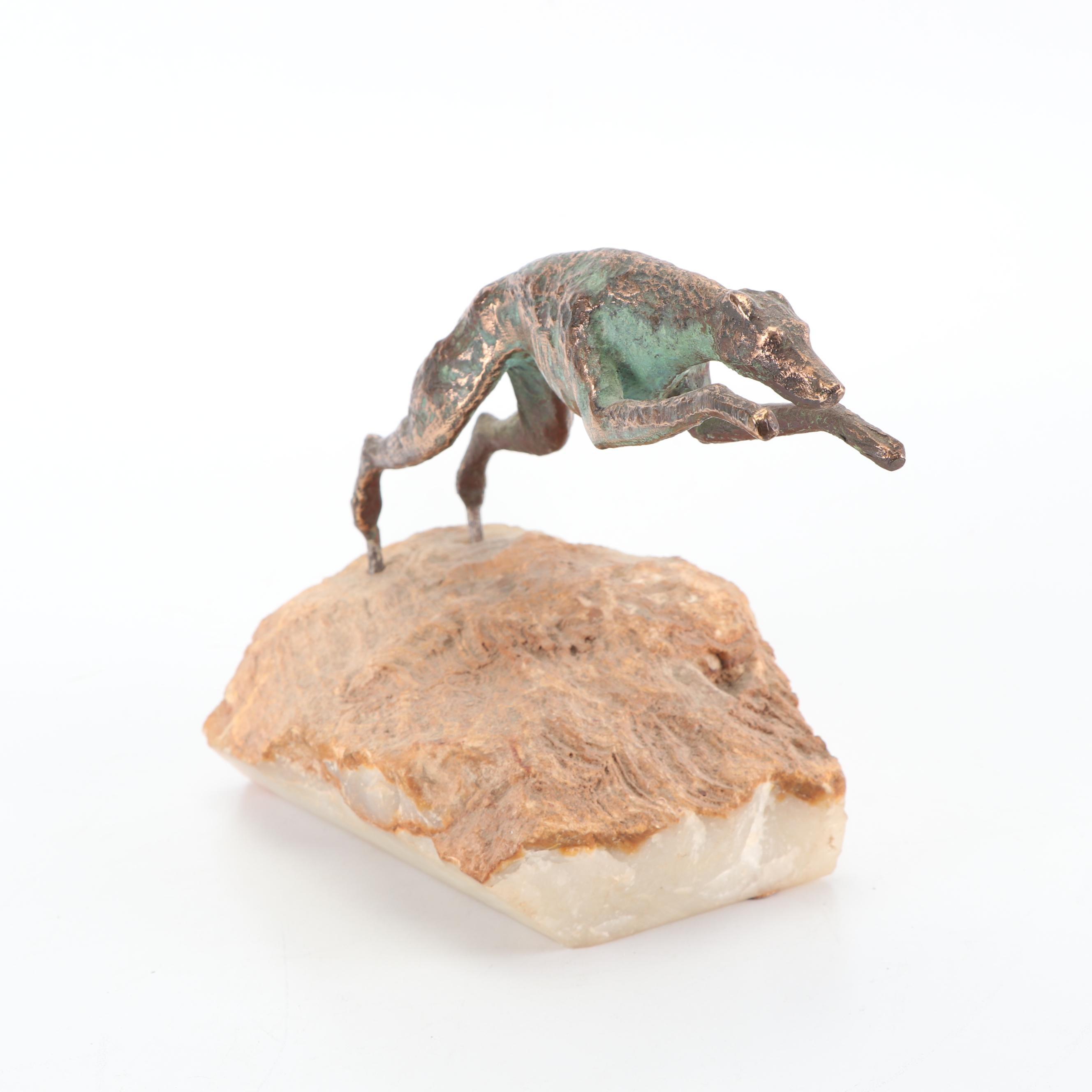 Bronze Statue of a Racing Greyhound on Quartzite
