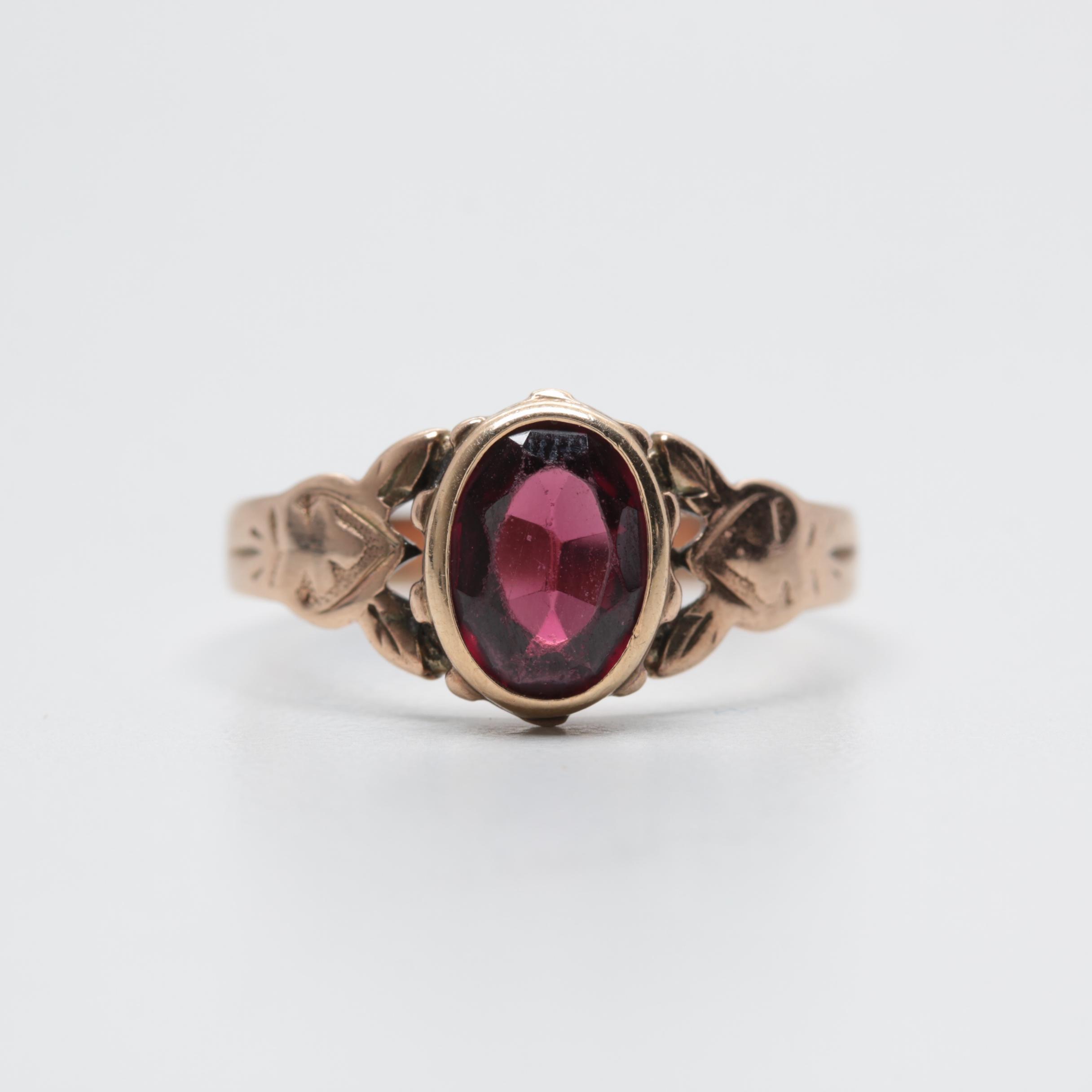 Victorian 10K Rose Gold Garnet Ring